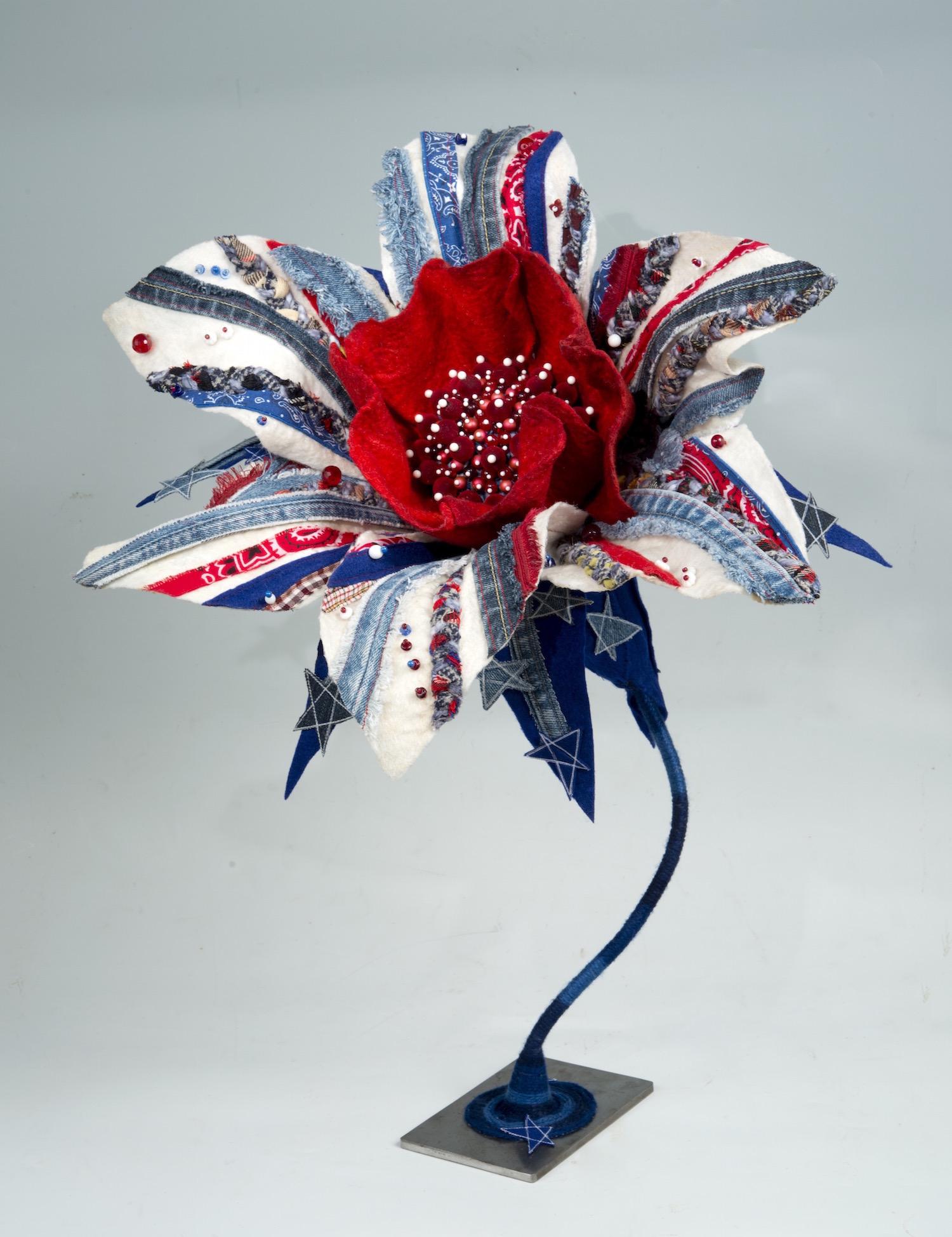 genetically designed flower: daisy 'americana'   handmade felt, mixed media  25 x20 x19