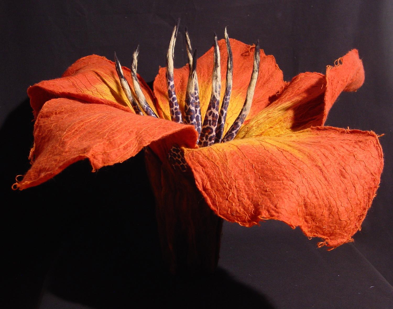 hibiscus 'leopardium'   handmade felt, mixed media  20 x25 x27