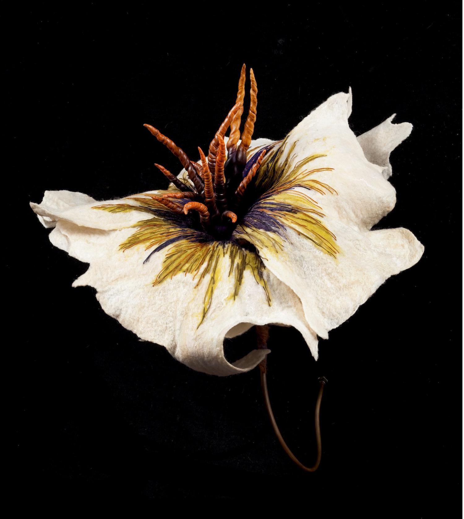 belladonna 'antelopium'   handmade felt, mixed media, polymer clay  23 x 20 x25