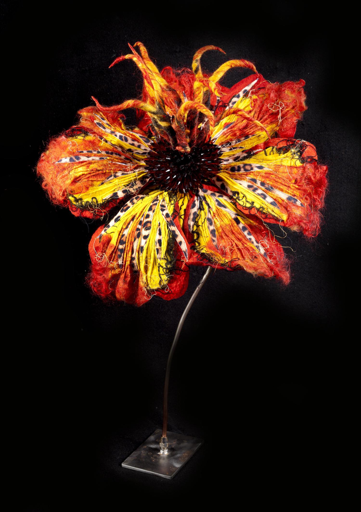 passion flower 'jungle fever'   handmade felt, mixed media  29 x18 x19