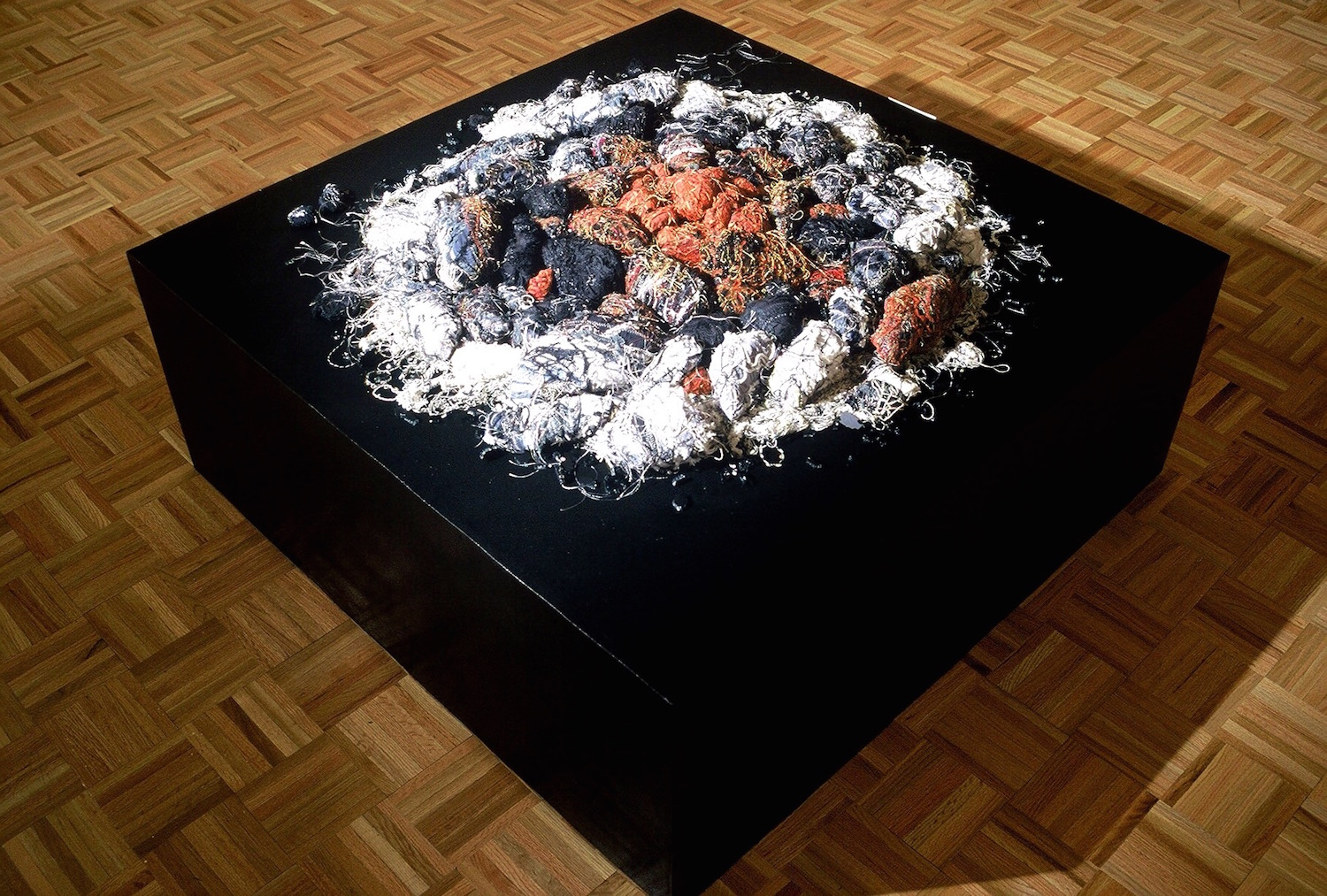 embers   hand and machine sewn fabric over rocks  variable size, as shown 3' round