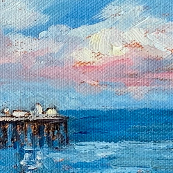 #detailofpainting #ontheeasel #oilpainting #backtopainting #hildakilpatrickfreyre #contemporaryimpressionism #artistsoninstagram #ocean #seascape #malibupier #highway1