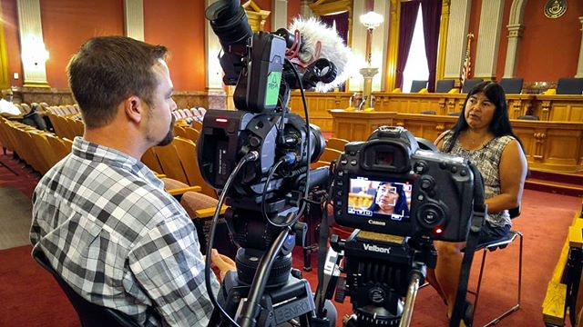 Here is a behind the scenes shot from a year ago, during the making of Mile Marker. Director Korey Rowe (@korey_rowe) sat down with Dr. Irene Aguilar, a Democratic member of the Colorado Senate. The Senator helped pass a bill which gave veterans legal access to medical cannabis if they were diagnosed with PTSD.  Photo credit: Dylan Avery @iamdylanavery  #milemarker #milemarkerfilm #veteransforcannabis #veterans #plantsoverpills #cannabiscures #cannabis #ptsd #22toomany #legal4ptsd #potoverpills #twentytwomany #m4mmvets