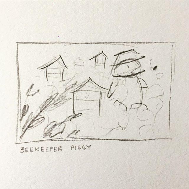 Thumbnail for lil' Beekeeper Piggy 🐝  #bees #beekeeper #beekeeping #illustration #illustrationhowl #illustrationdaily #thumbnail #kidlitart #childrenillustration #childrensillustrator #sketch #traditionalart  #foodart #honeycomb #cuteart #illustchu