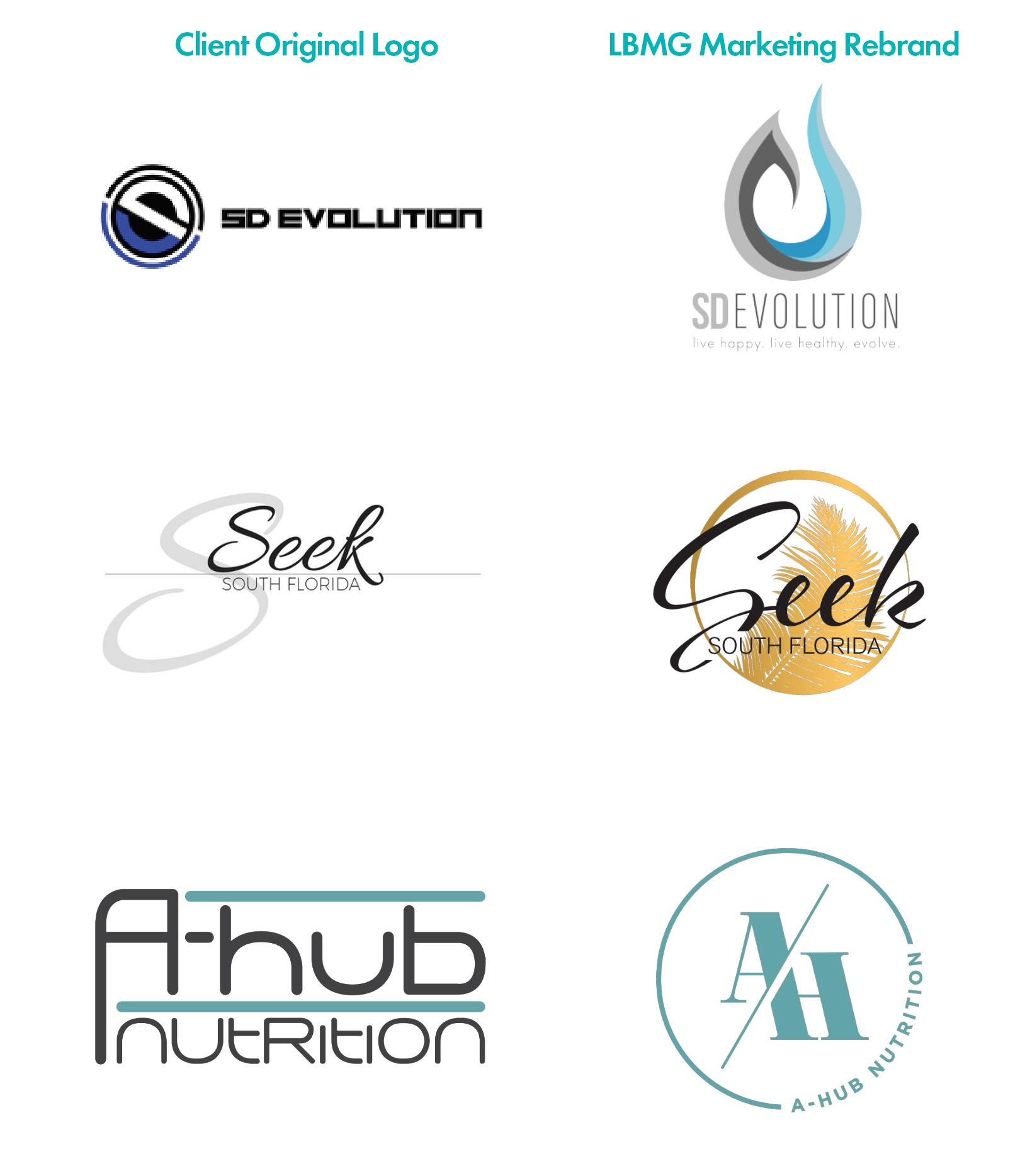 LBMG Marketing Client Rebrands | Top: SD Evolution, Middle: Seek South Florida, Bottom: A-Hub Nutrition