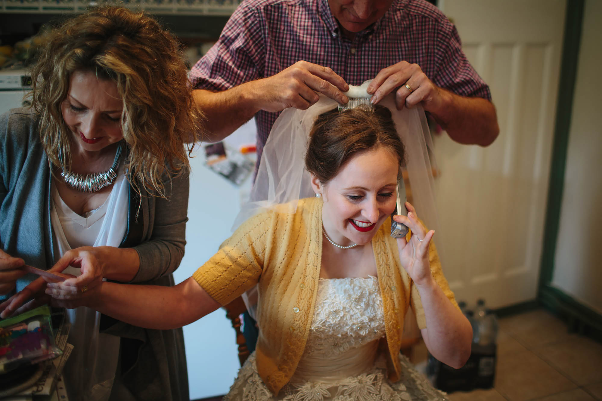 Leeds Yorkshire Wedding Photographer Bride Prep Phone Hair Makeup
