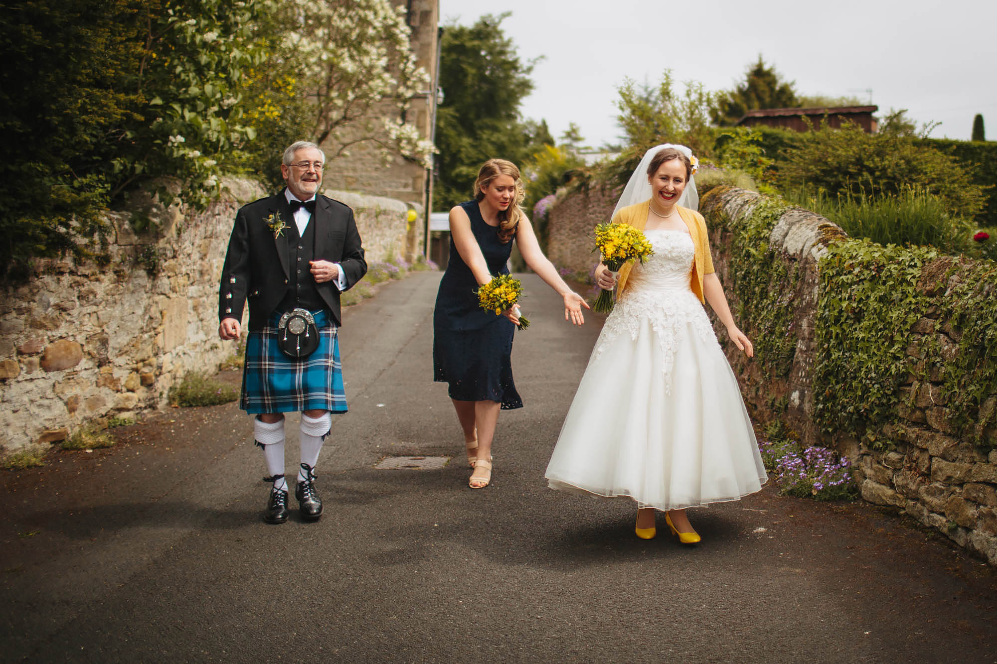 Leeds Yorkshire Wedding Photographer Bride Dress Father Bridesmaid Kilt Flowers