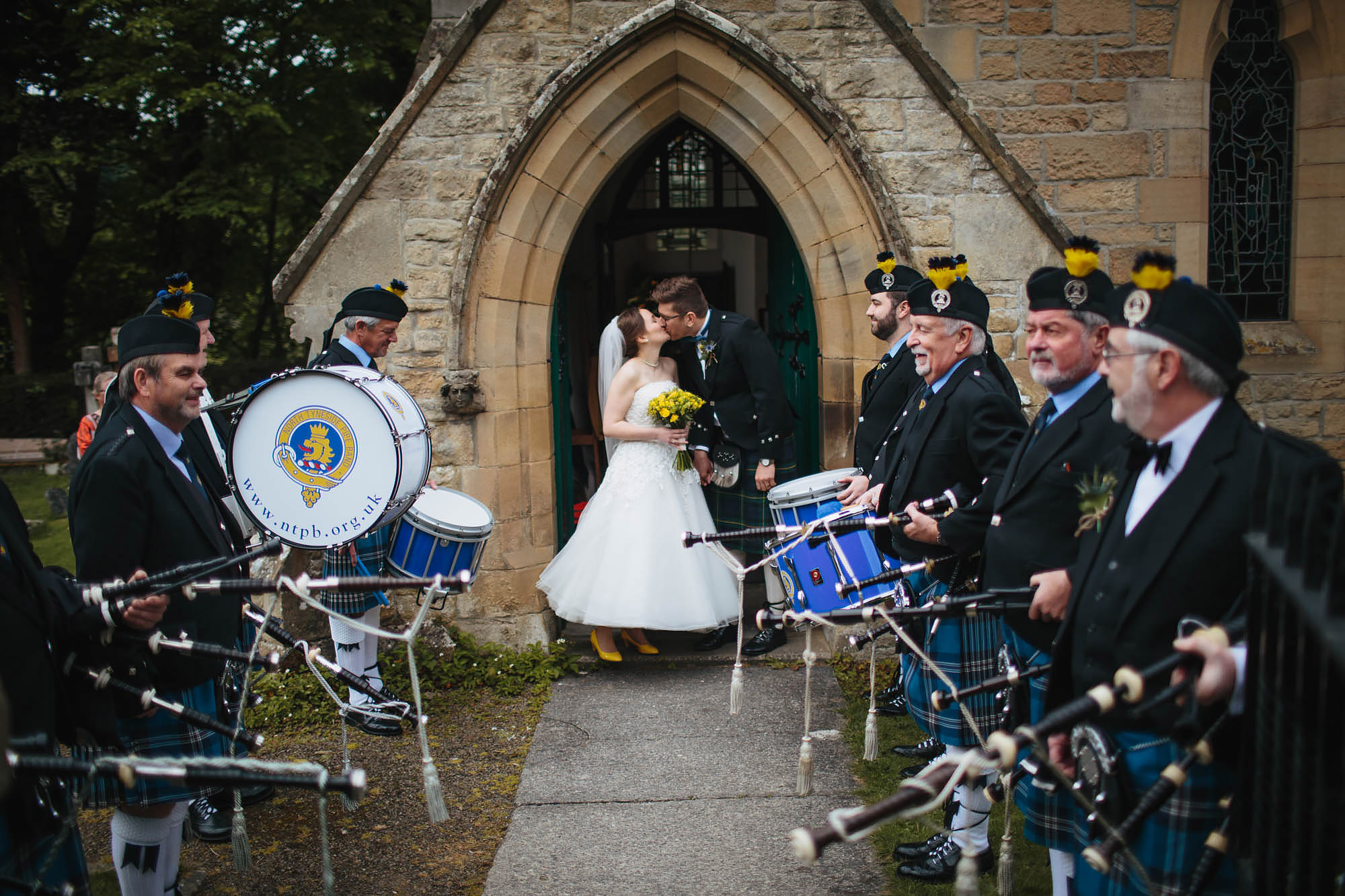 Leeds Yorkshire Wedding Photographer Portrait Pipe Band Kiss