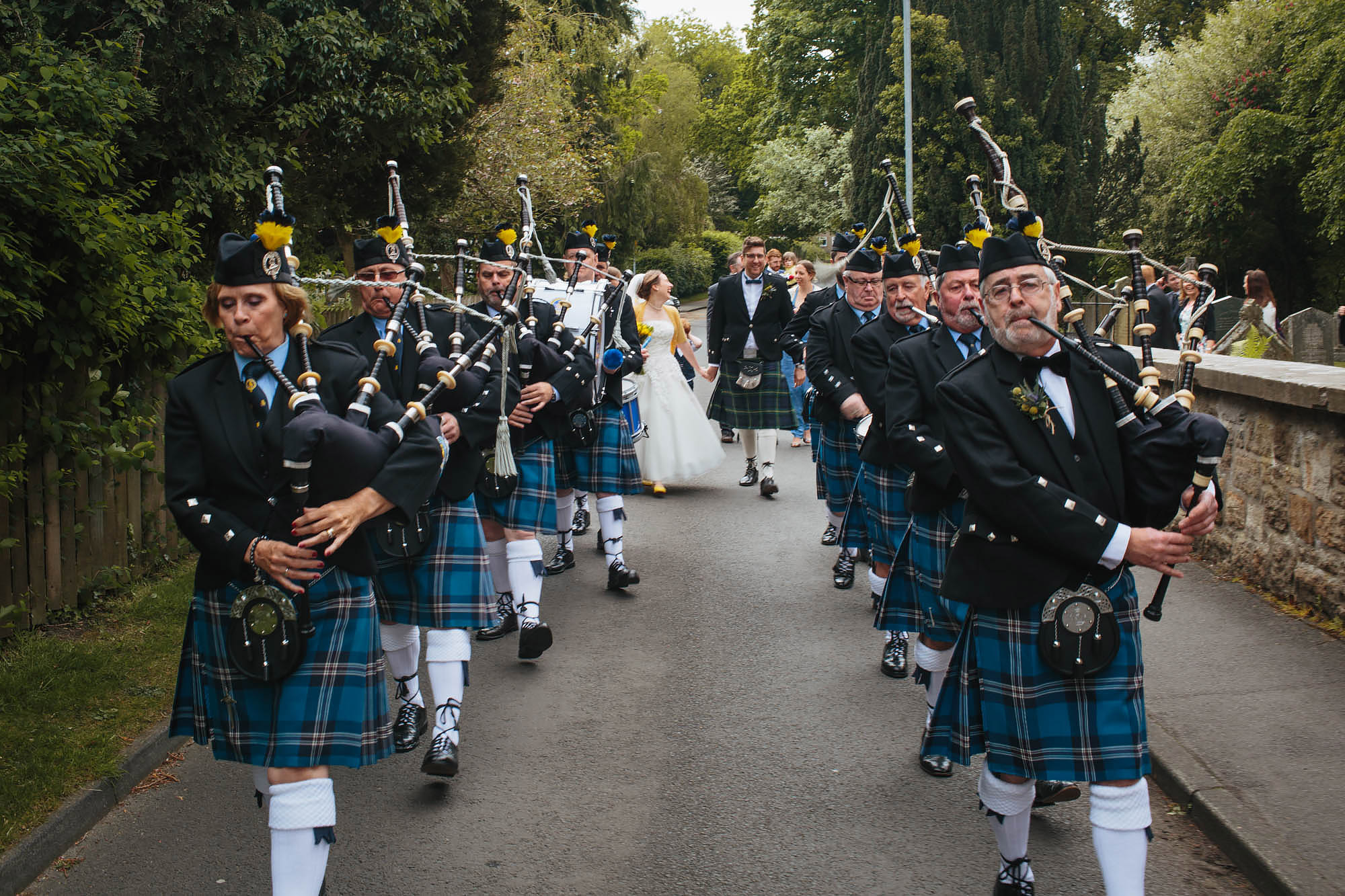 Leeds Yorkshire Wedding Photographer March Kilt Bagpipes
