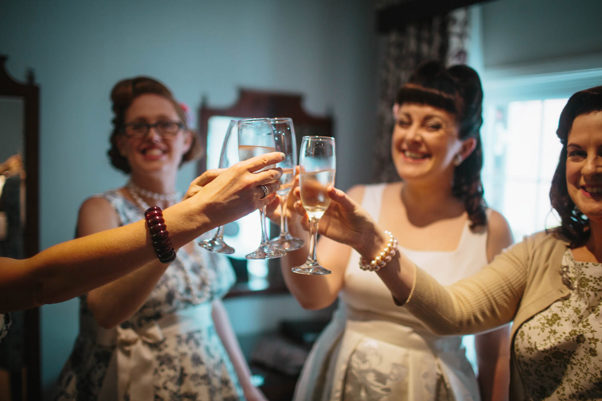 Leeds Yorkshire Wedding Photographer Champagne Fizzy Bridesmaids