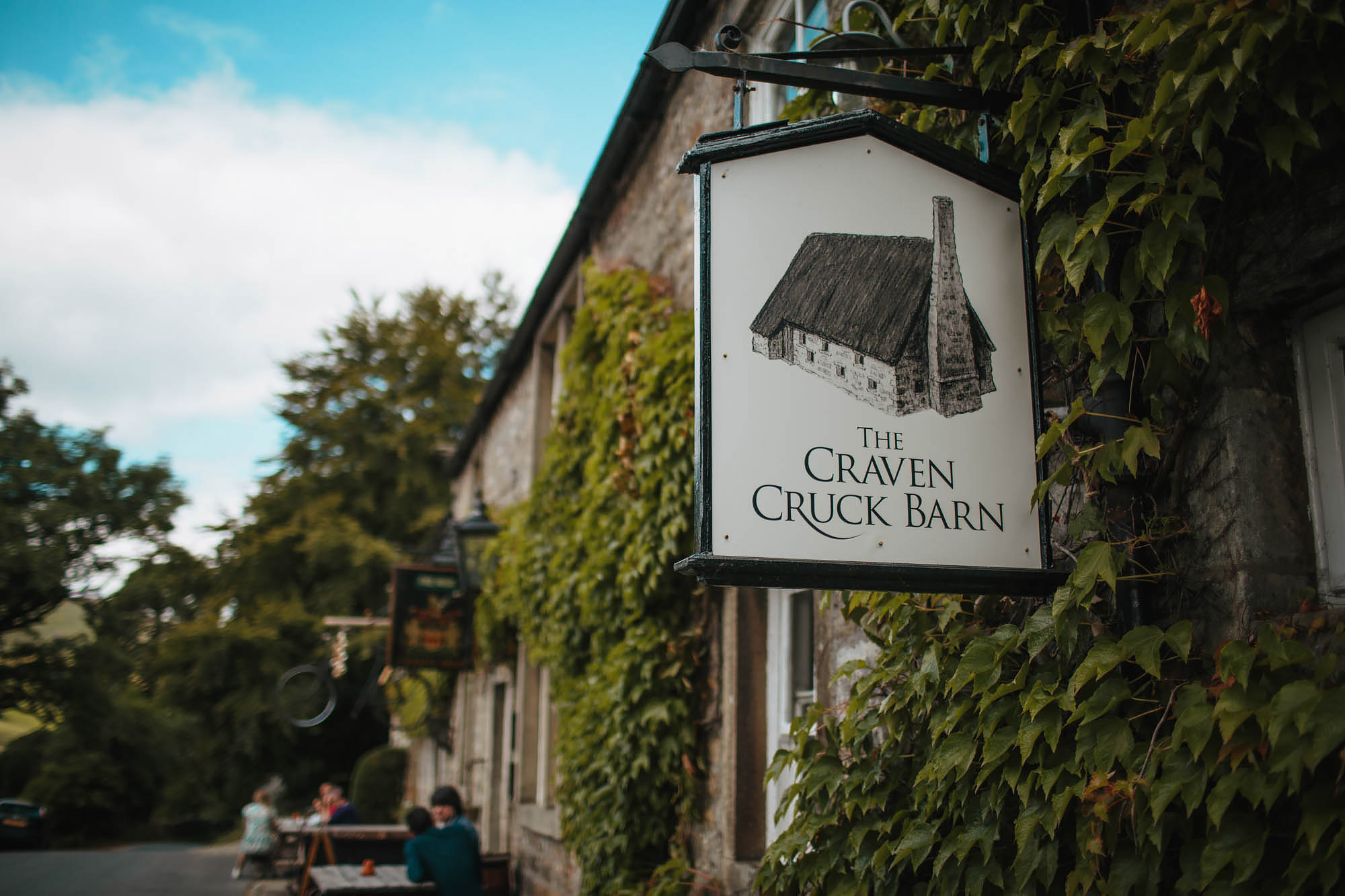 Sign for the Craven Arms Cruck Barn Wedding