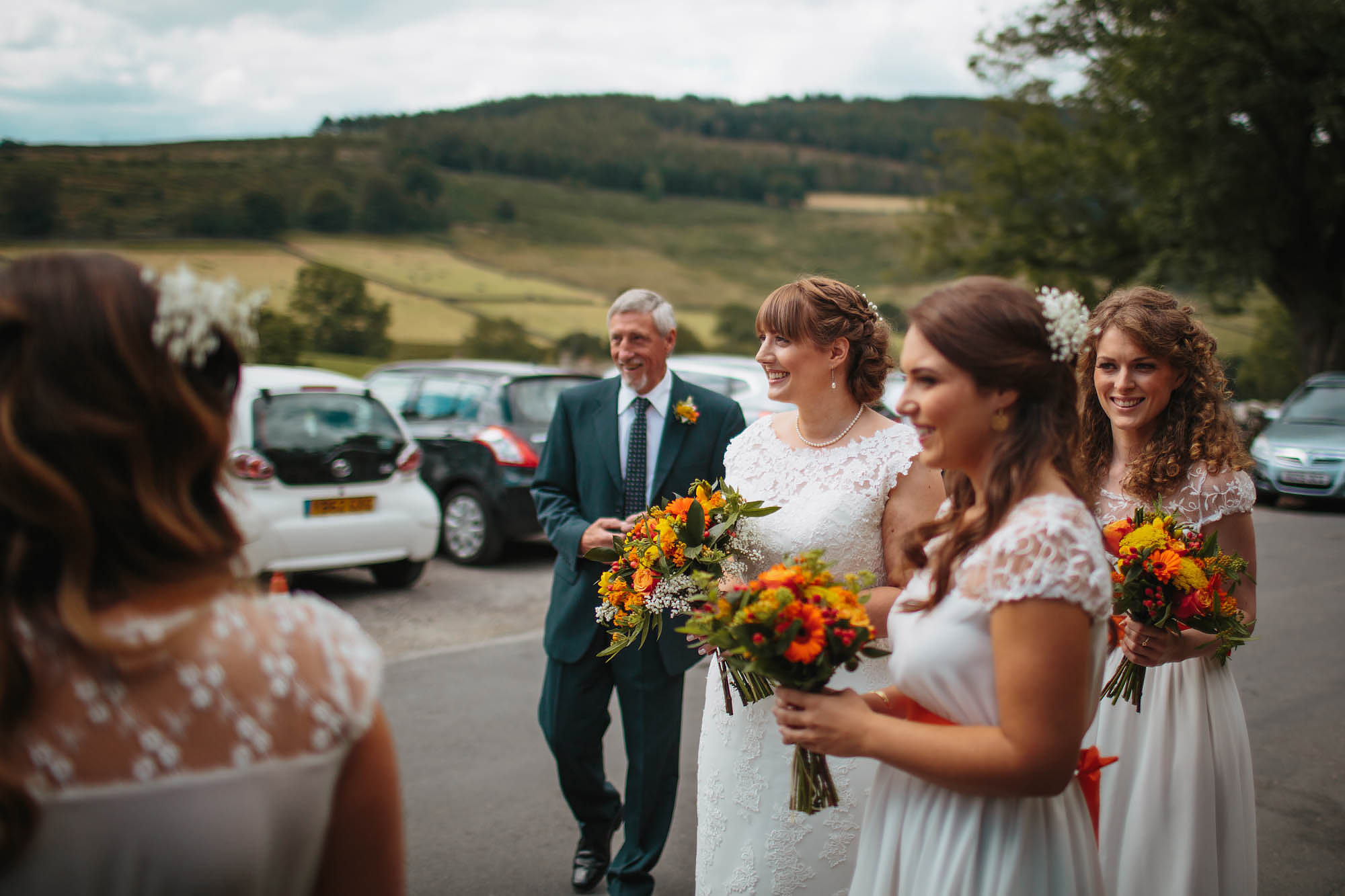 Bridal Party and dad waiting outside the wedding in Yorkshire