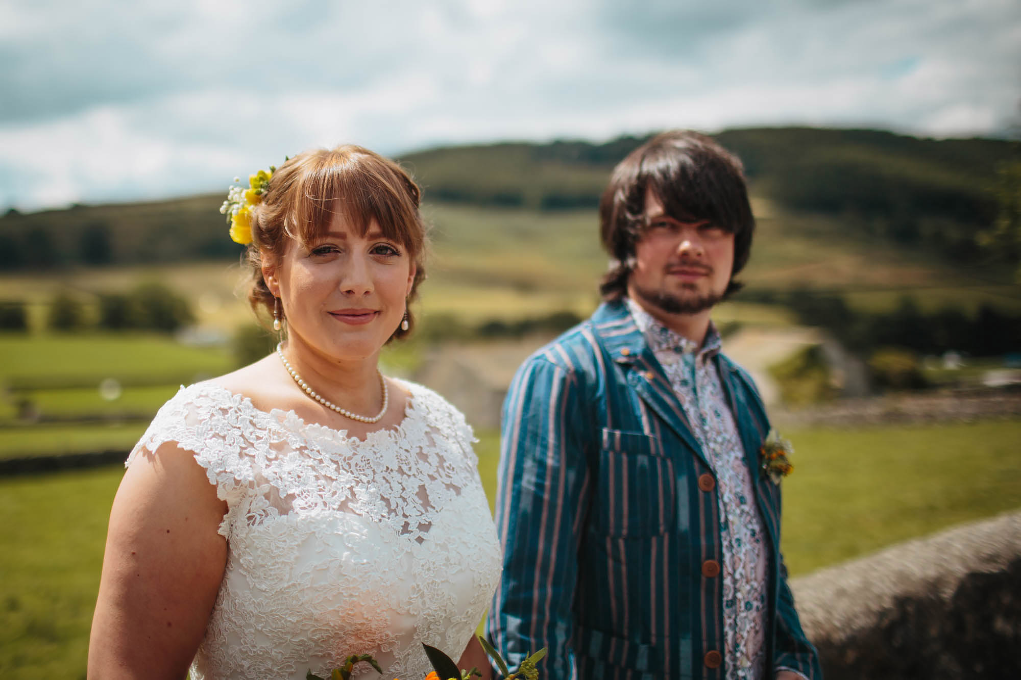 Bride and groom portrait at a Yorkshire Dales wedding