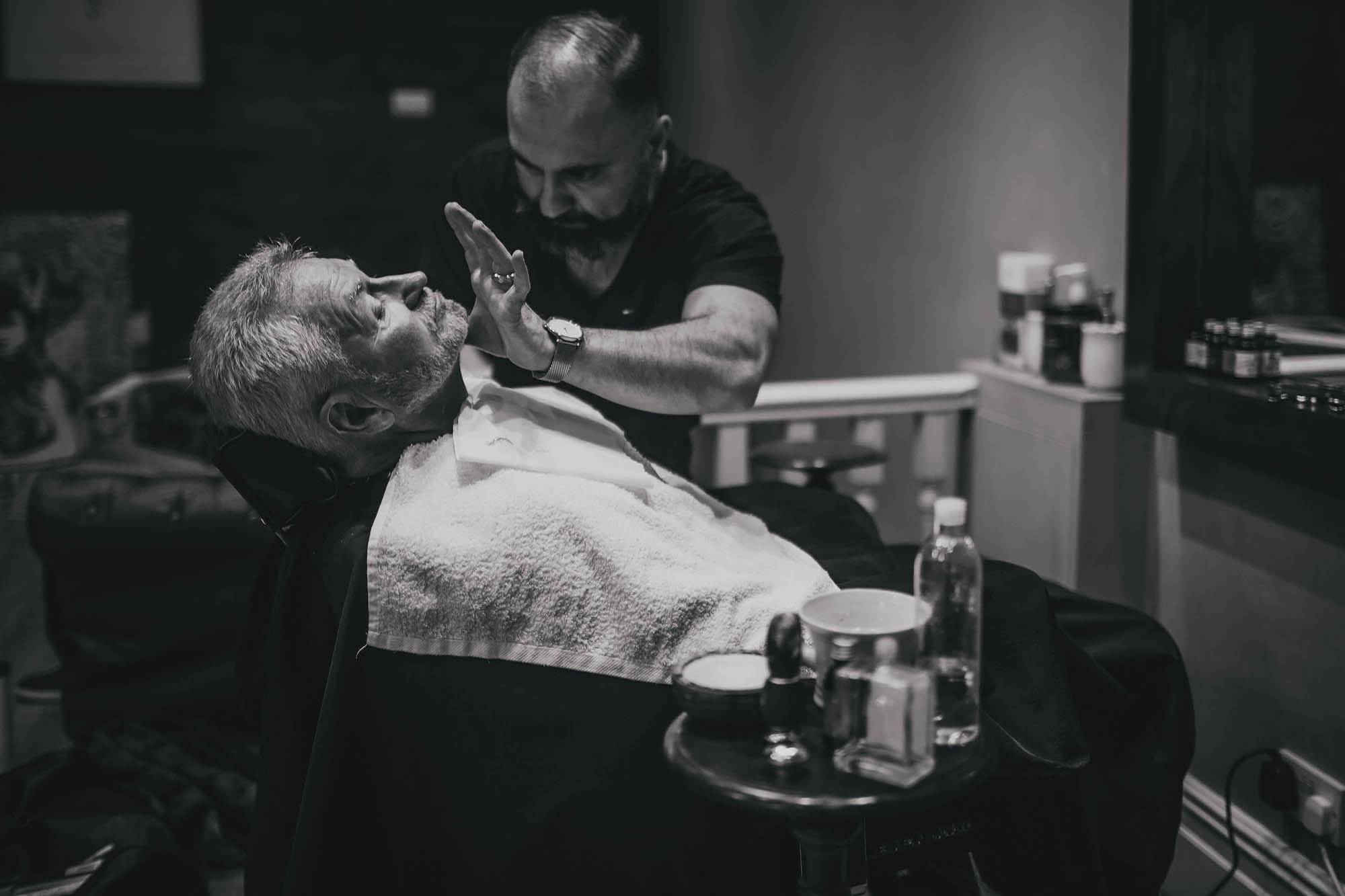 Grooms father has a wet shave in Leeds City Centre