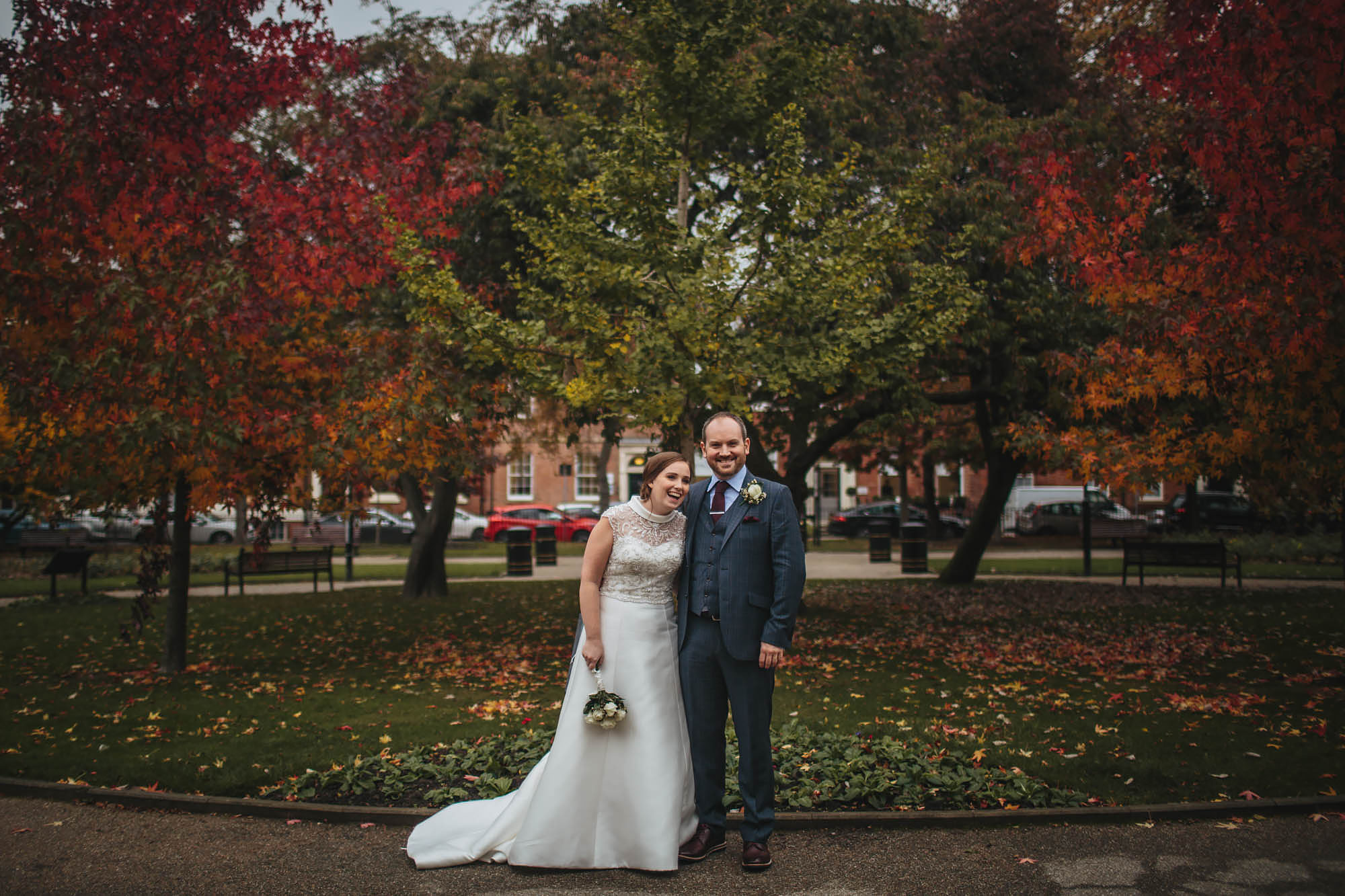 Bride and groom portrait in Leeds City Centre