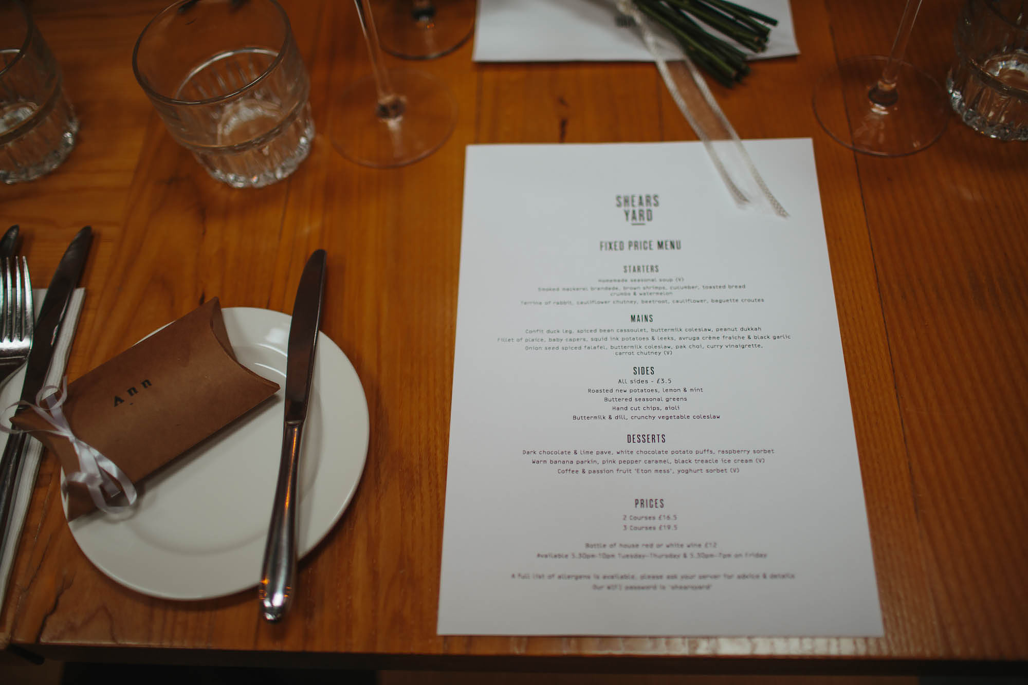 Wedding menu at Shears Yard in Leeds Yorkshire