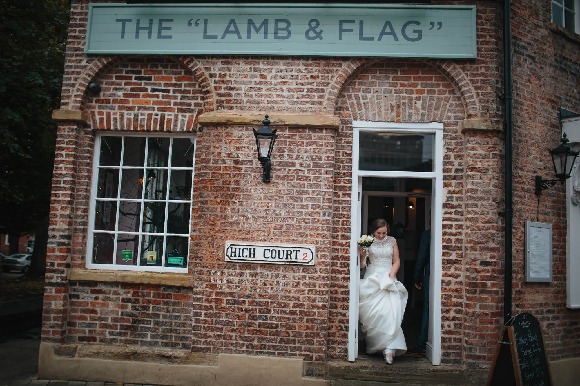 Bride at the lamb and flag pub in Leeds Yorkshire