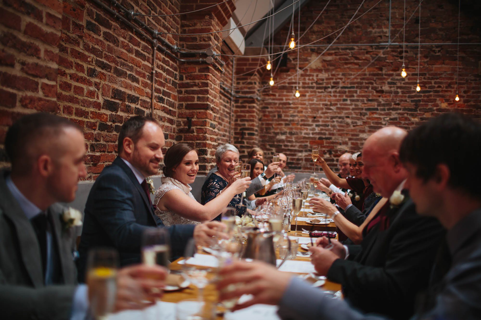 Champagne toast at Shears Yard in Leeds wedding