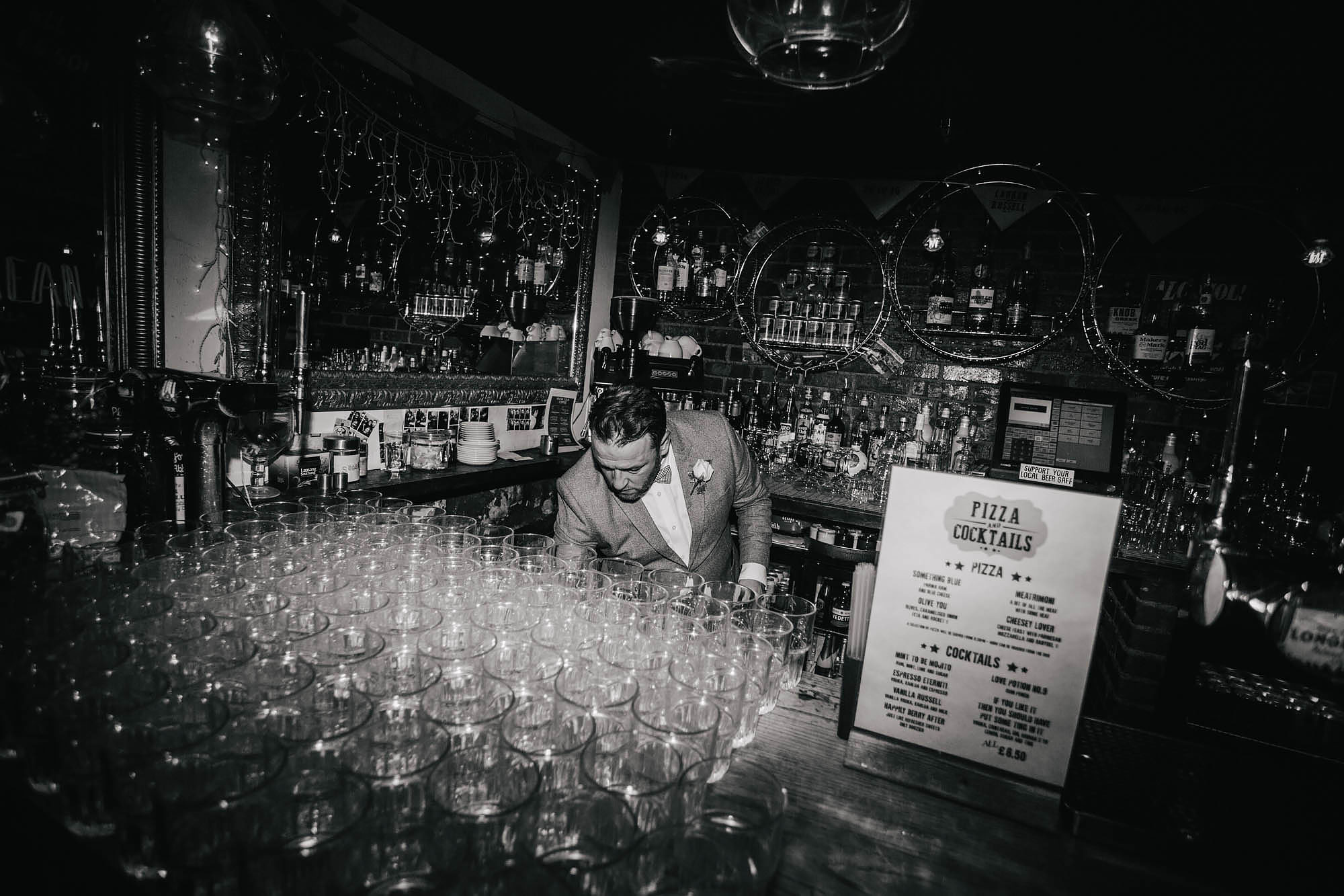Barman at a wedding in Leeds Yorkshire