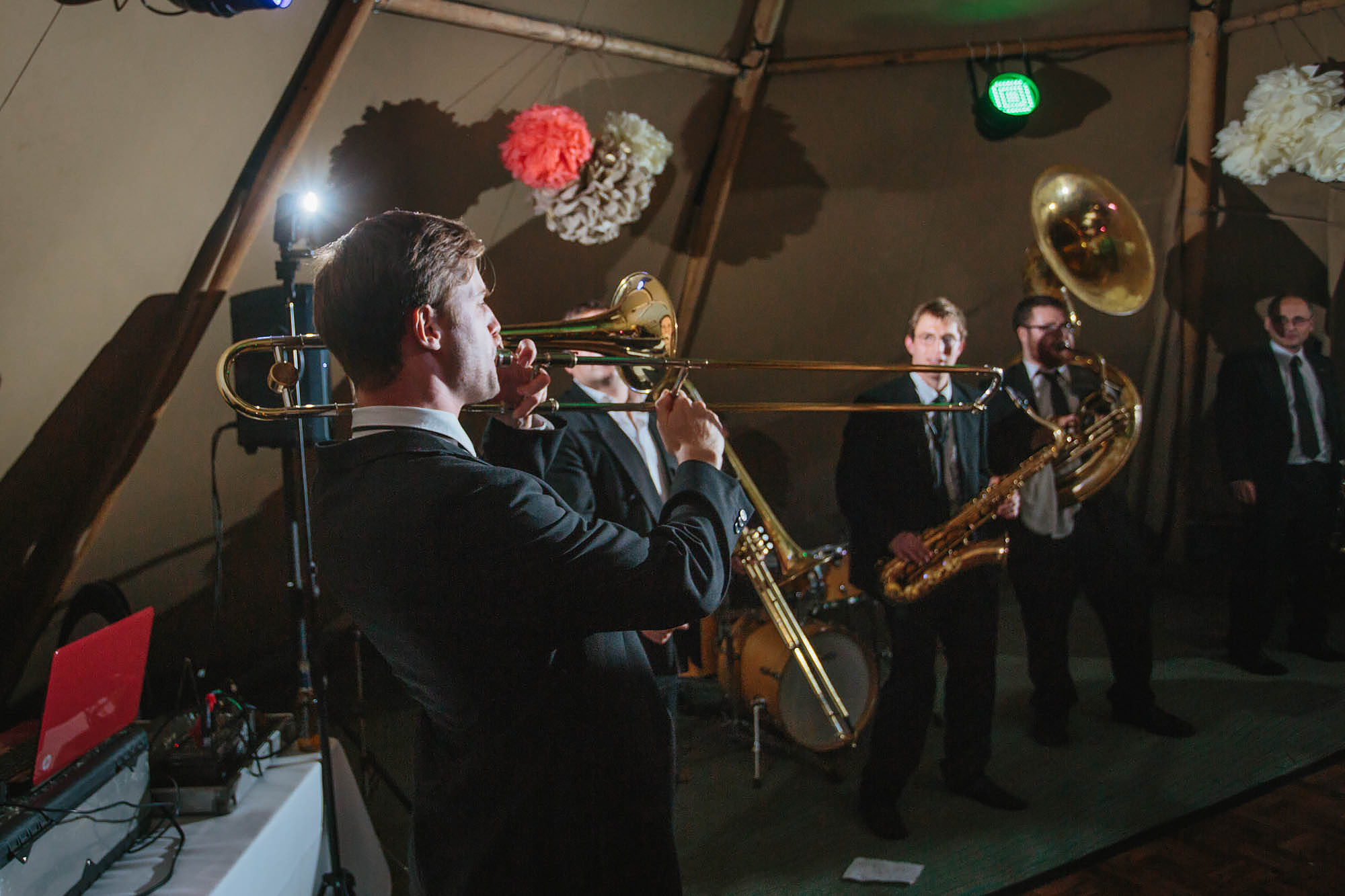 Brass band performing at a Yorkshire wedding