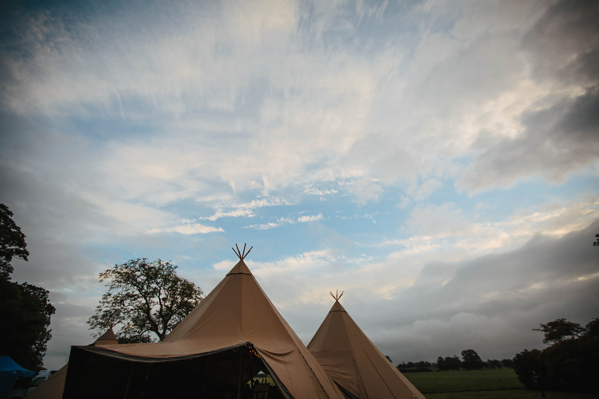 Tipi and sky at a wedding in Yorkshire