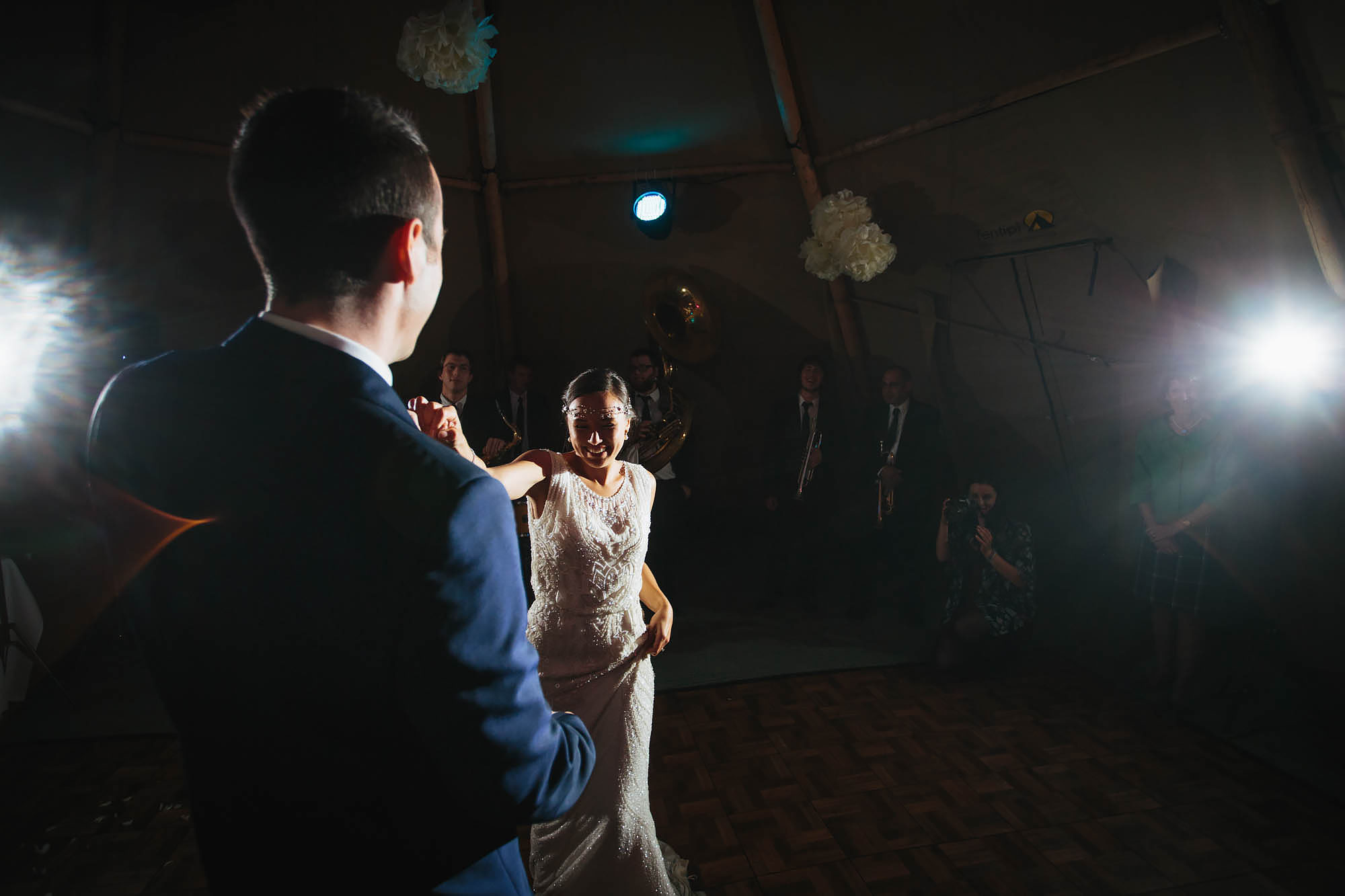Bride and groom perform their first dance at a Hornington Manor wedding