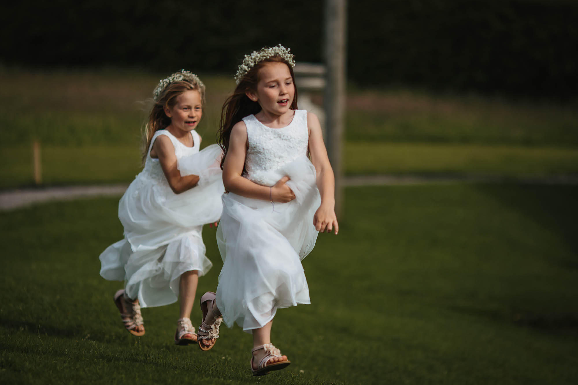 Bridesmaids running in the wedding dresses