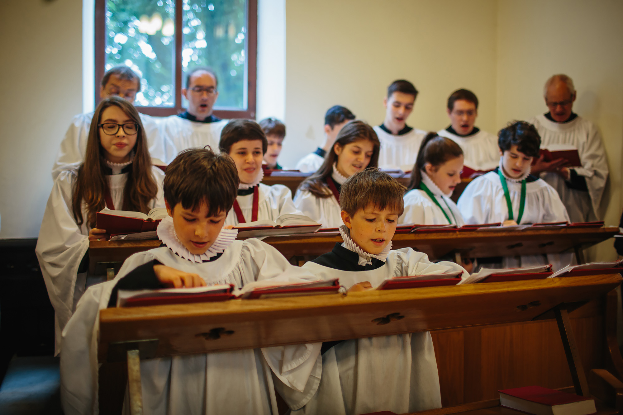Choir singing hymns at a church wedding
