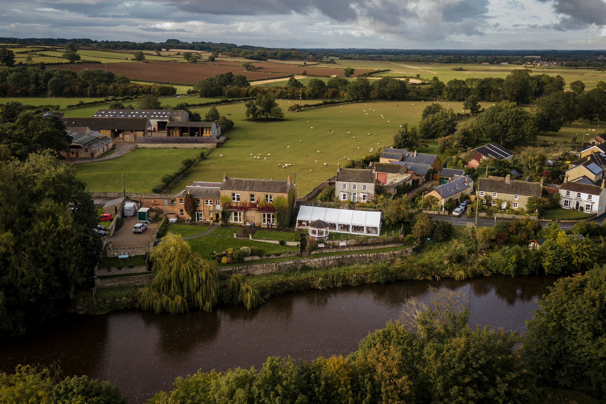 Aerial shot of Tanfield House and the surrounding fields in Yorkshire
