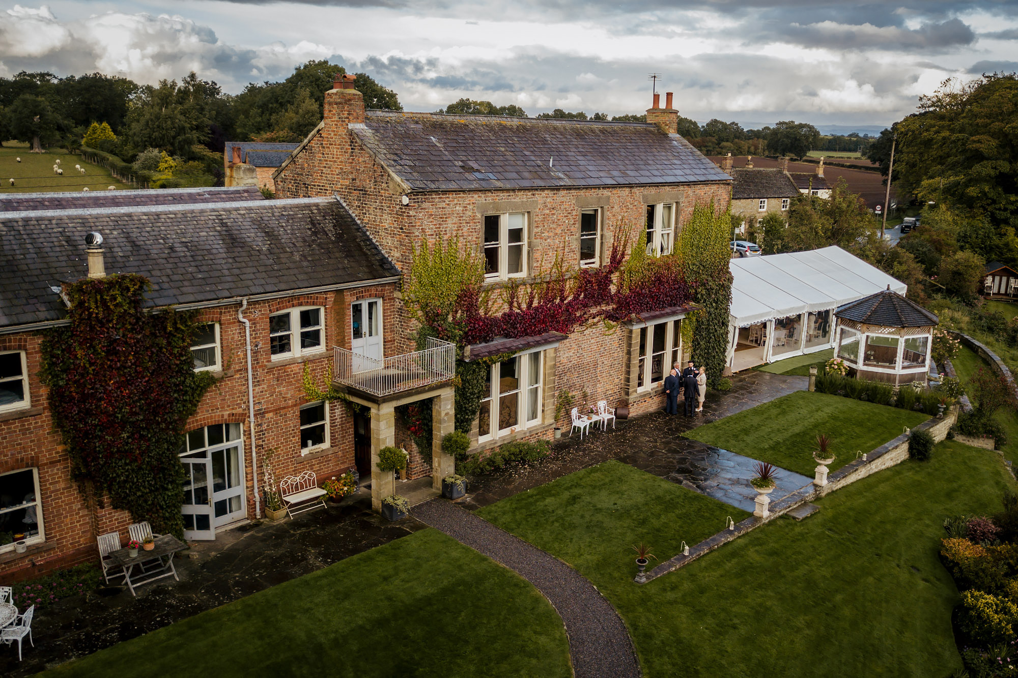 Aerial shot of Tanfield House and marquee in Yorkshire