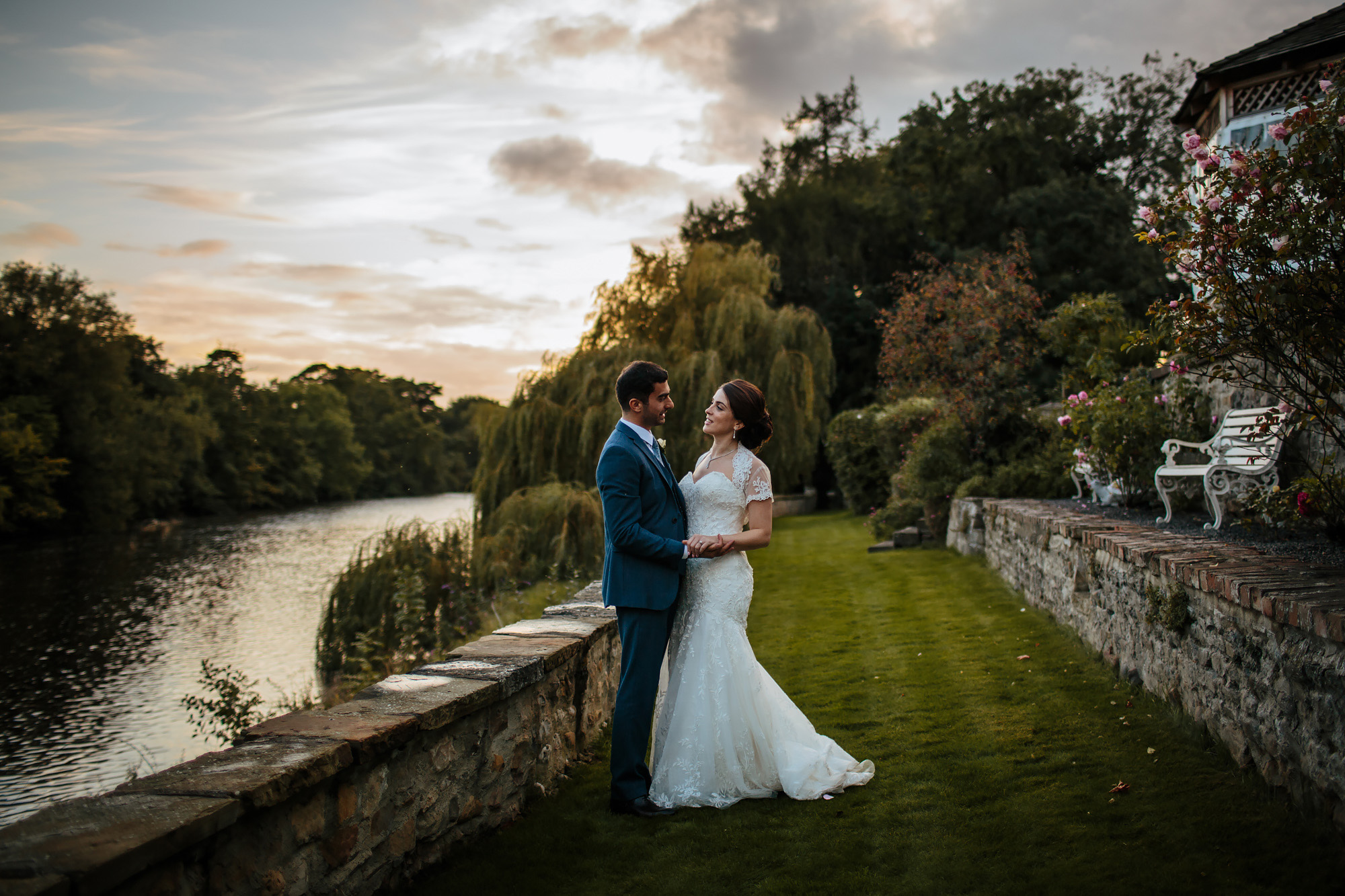 Sunset wedding portrait by a Yorkshire river