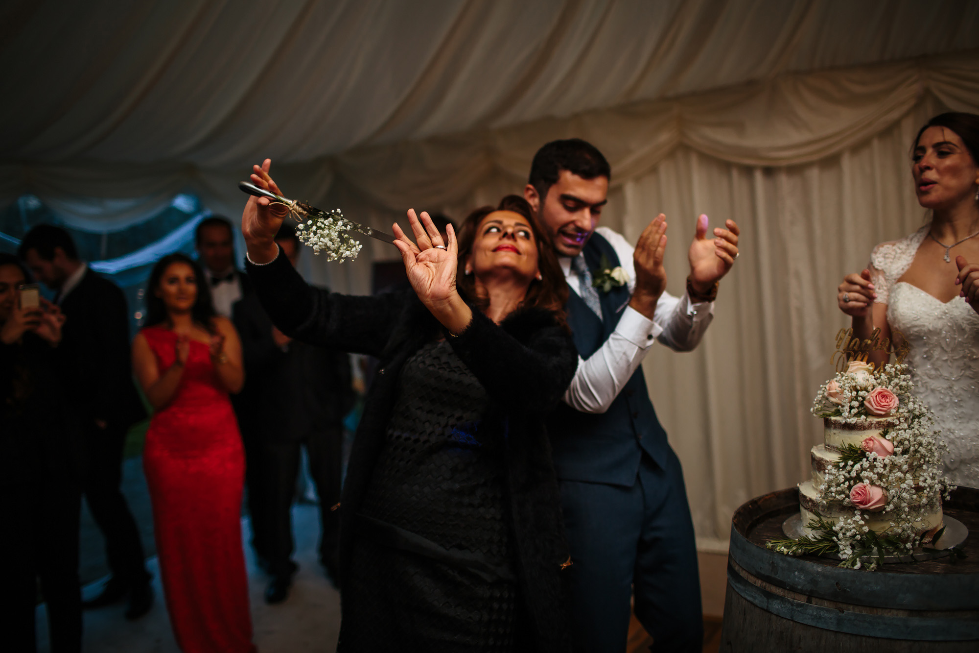 Groom and mother dancing at a wedding in Yorkshire