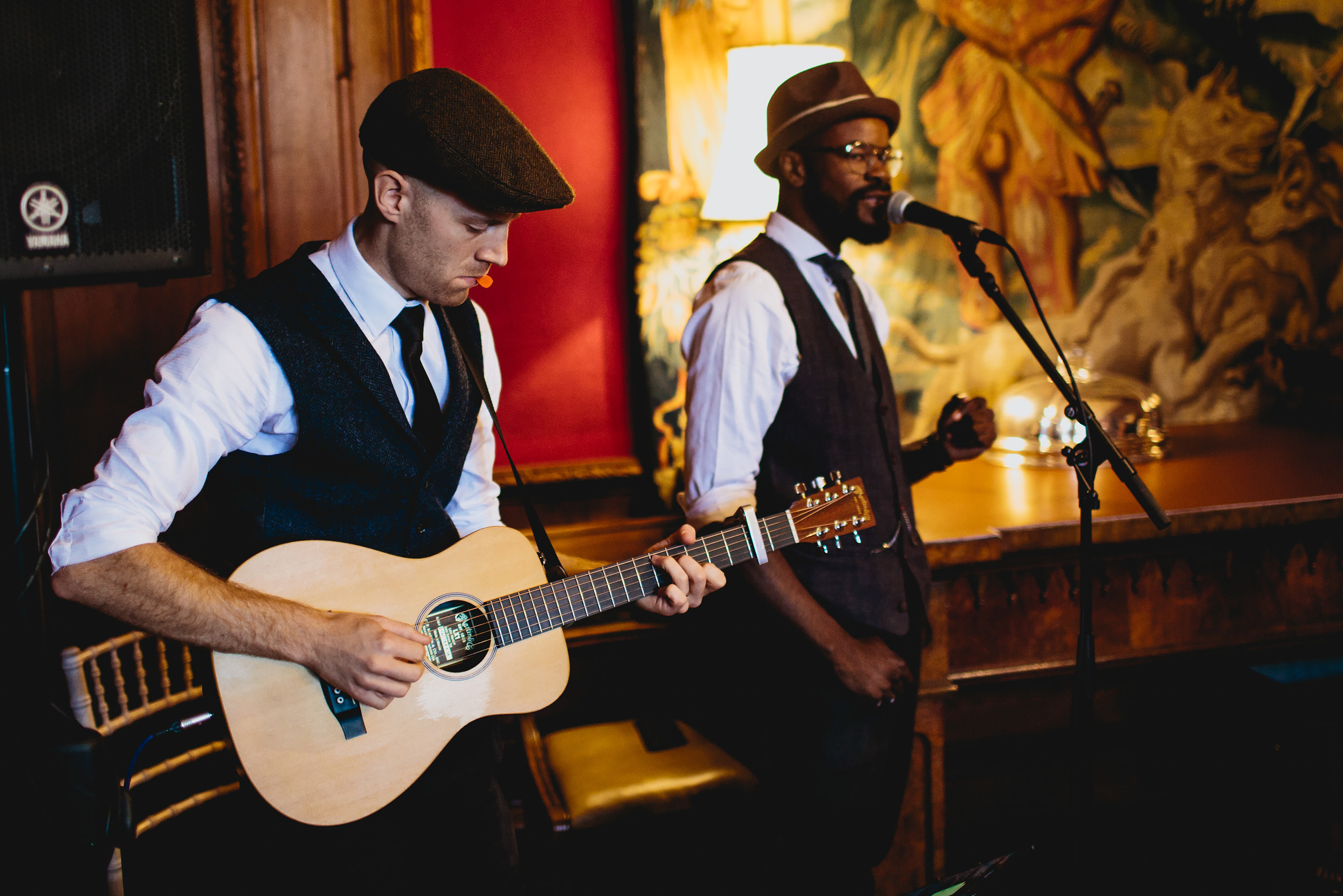 Music duo perform at a wedding ceremony in Cheshire