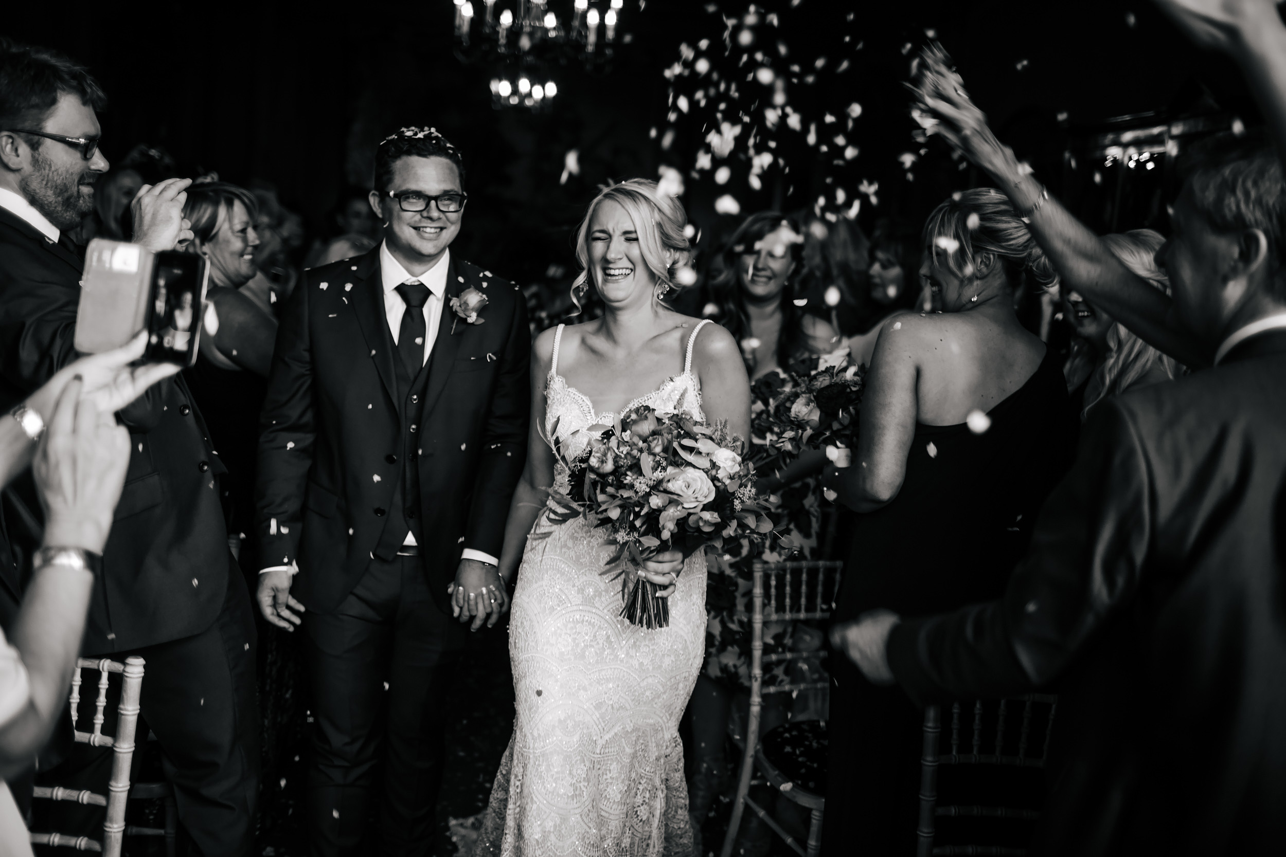 Confetti at a Thornton Manor Cheshire wedding