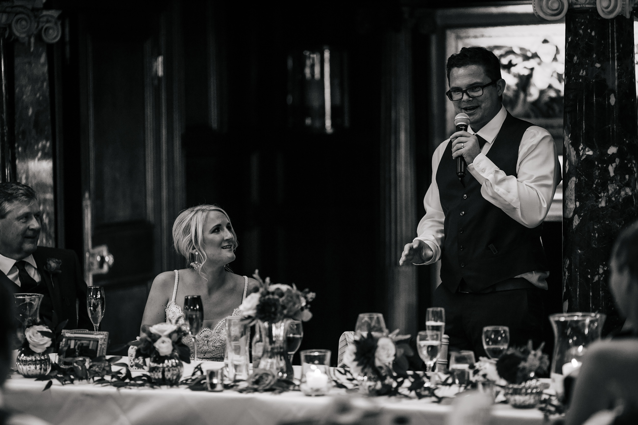 Grooms speech at his wedding at Thornton Manor Cheshire