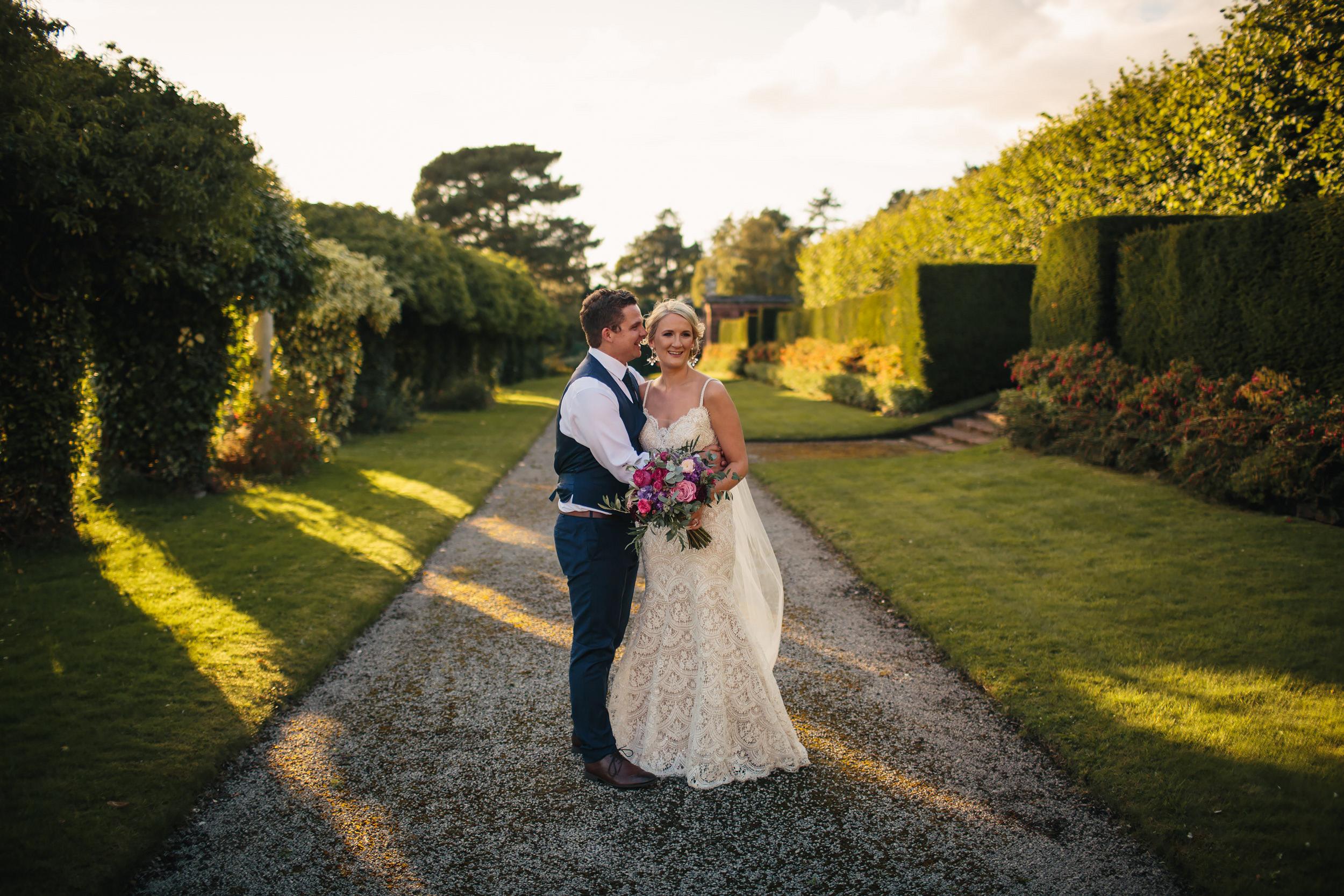 Couple portrait at Thornton Manor Cheshire wedding