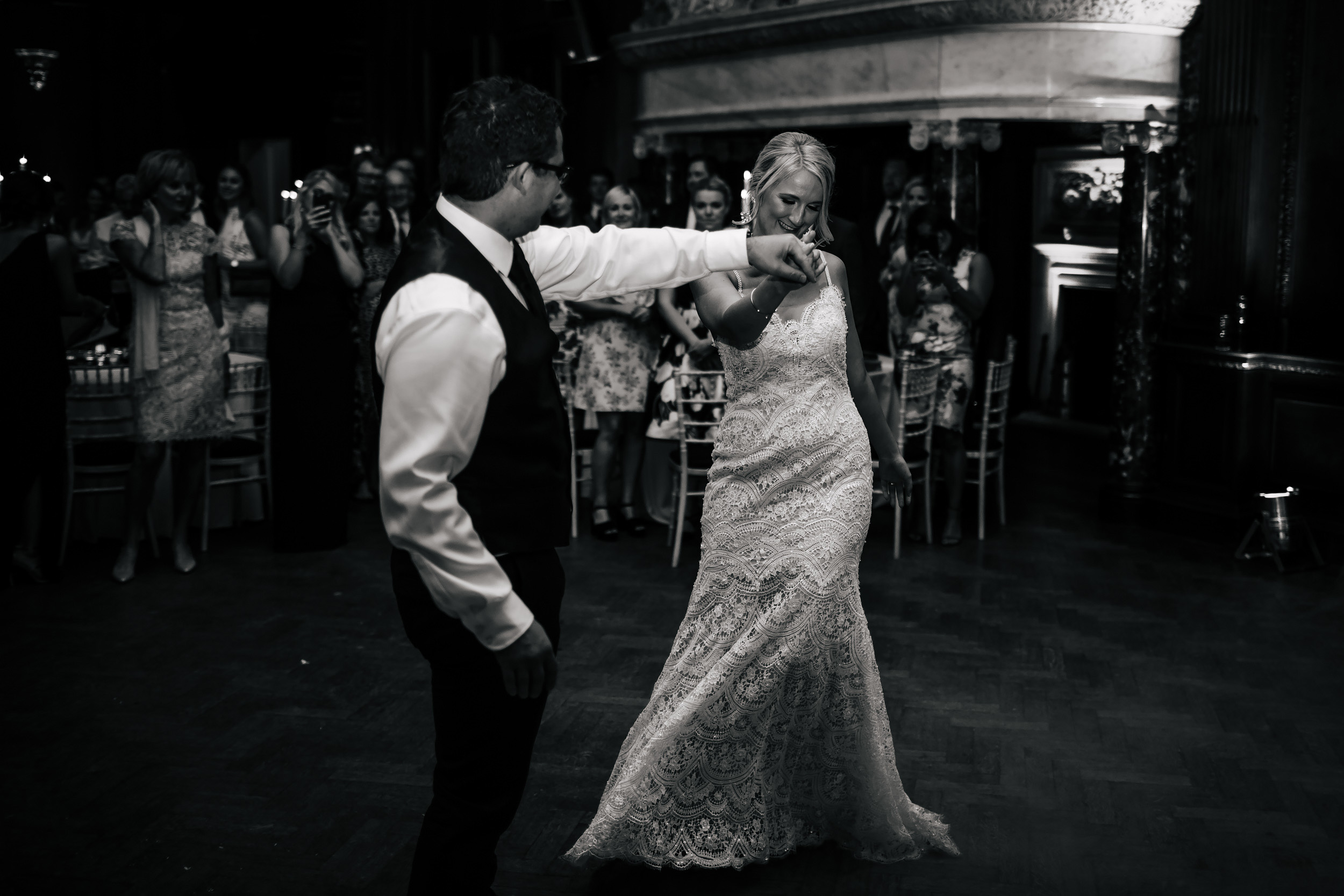 Bride and groom dancing at a Thornton Manor Cheshire wedding