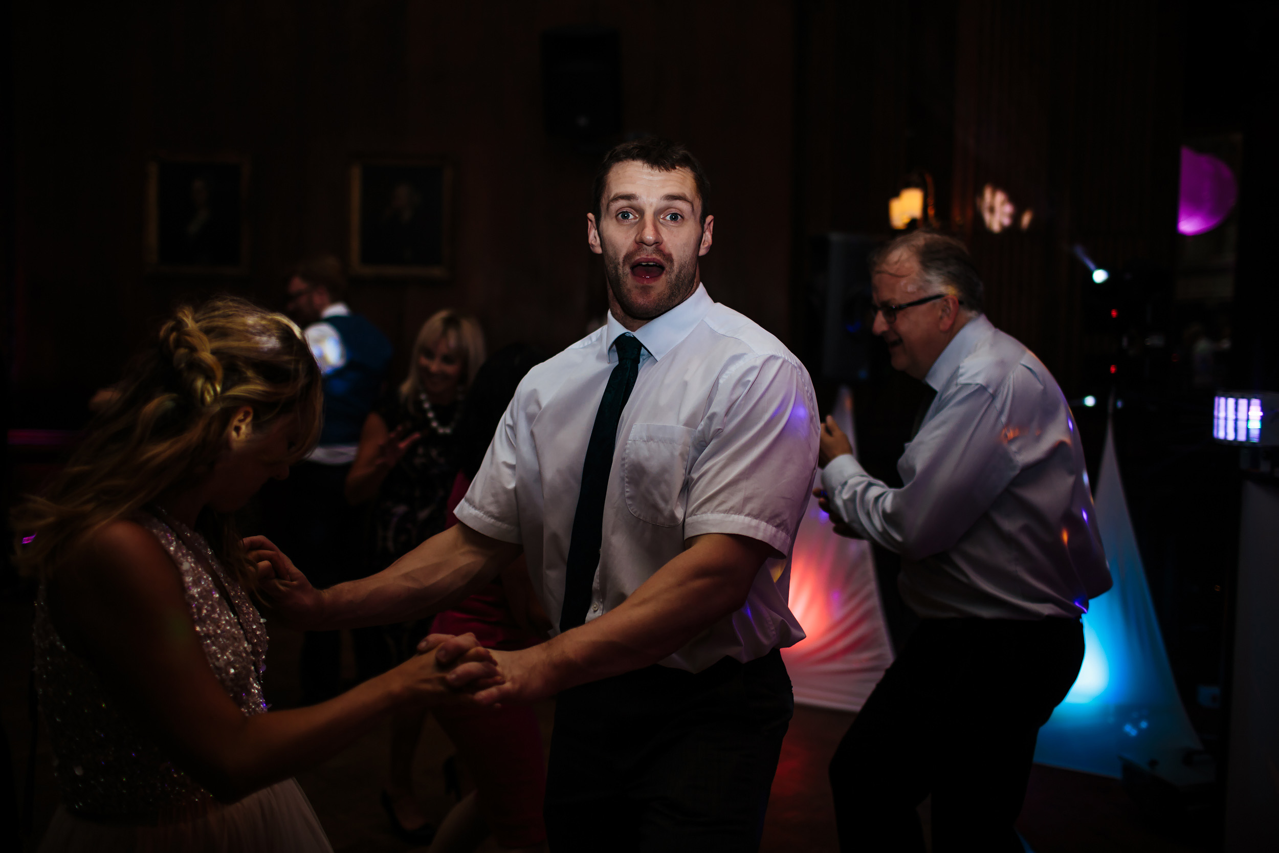 Guests dancing at a wedding disco