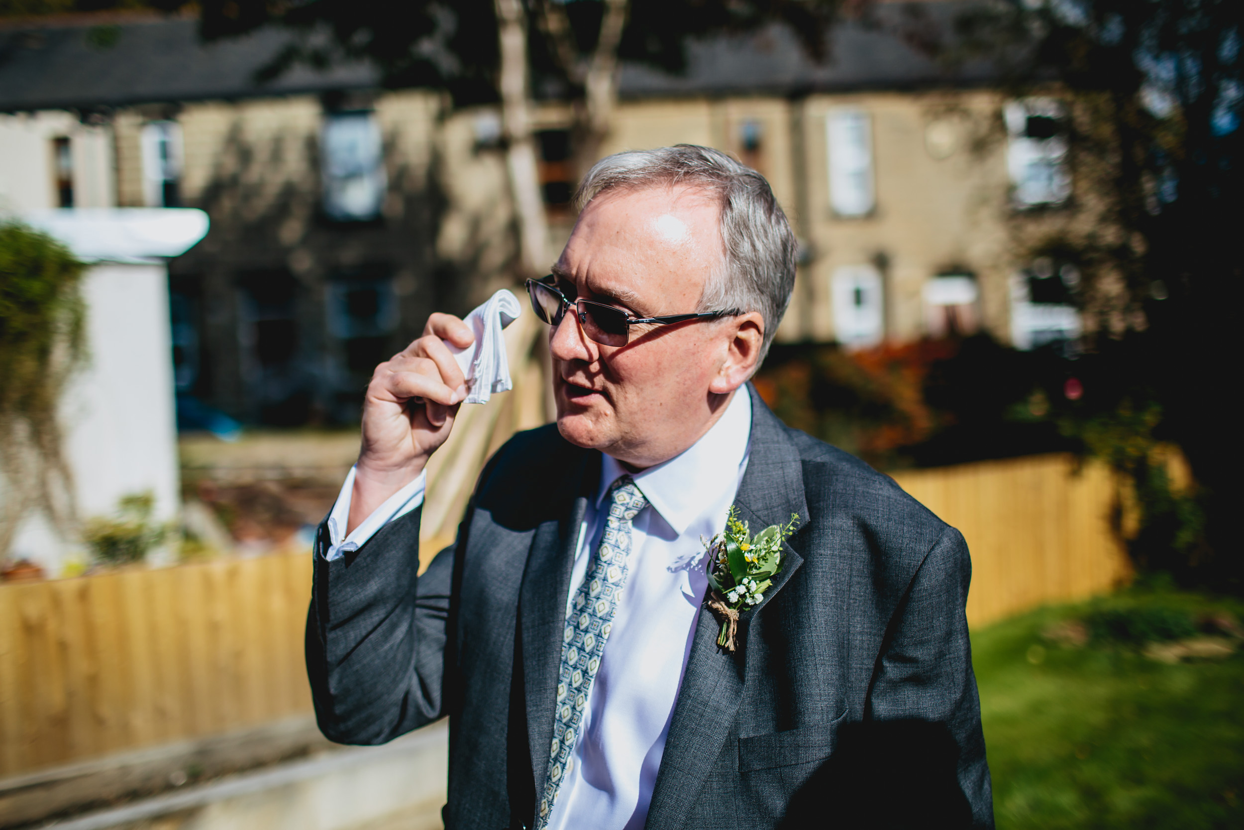 Grooms father before a wedding in Yorkshire