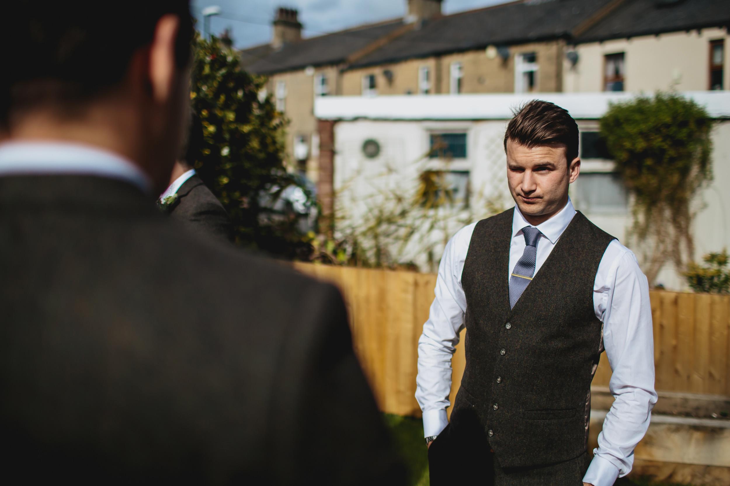 Groom looking nervous before his wedding in Leeds