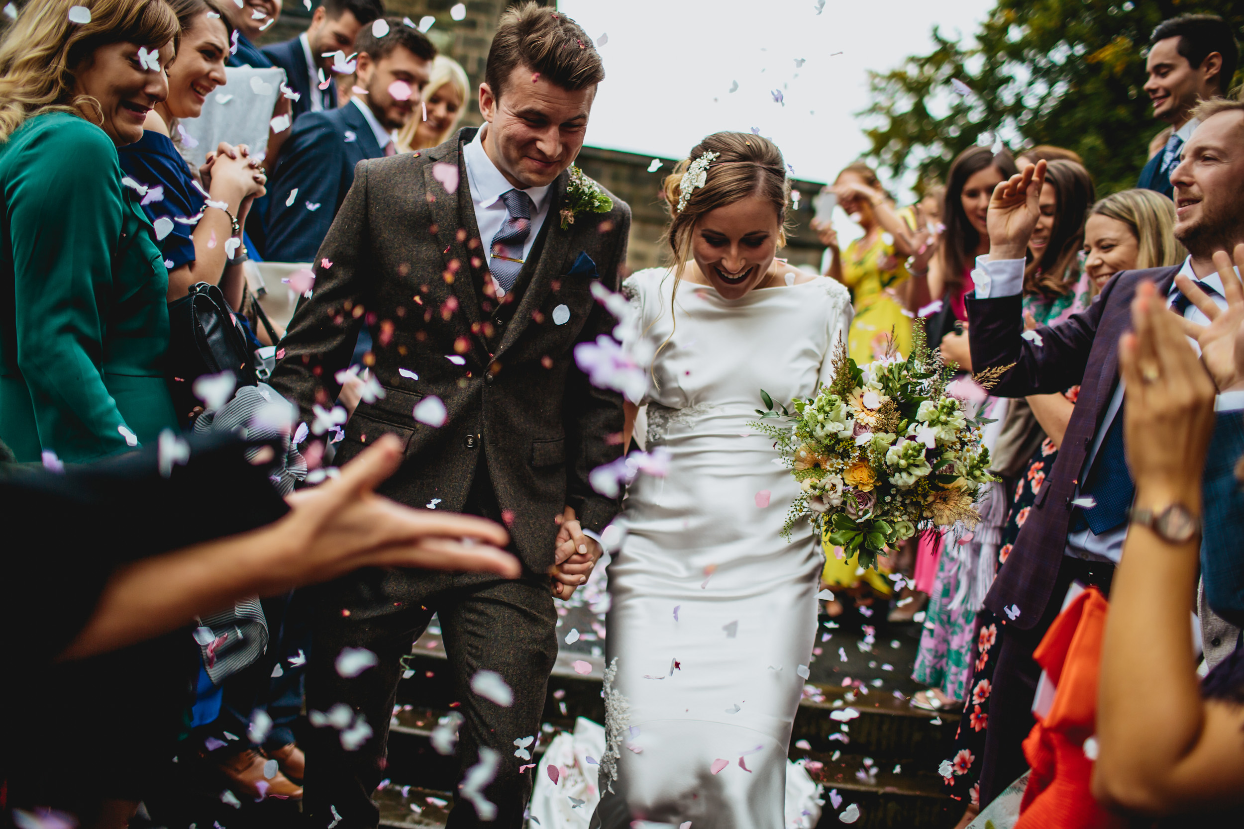 Confetti at a wedding in Leeds