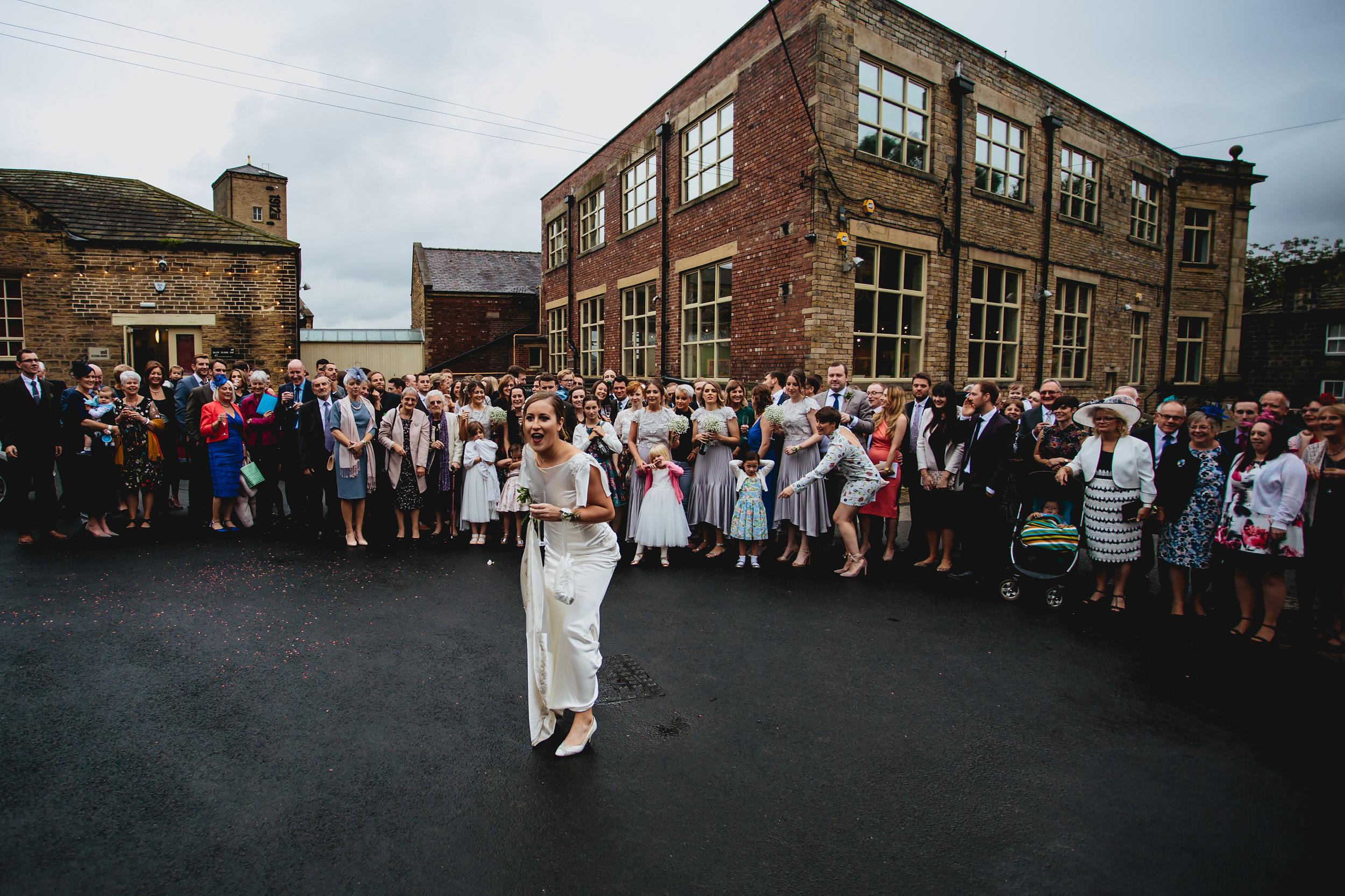 Bride and guests at a Sunny Bank Mills wedding