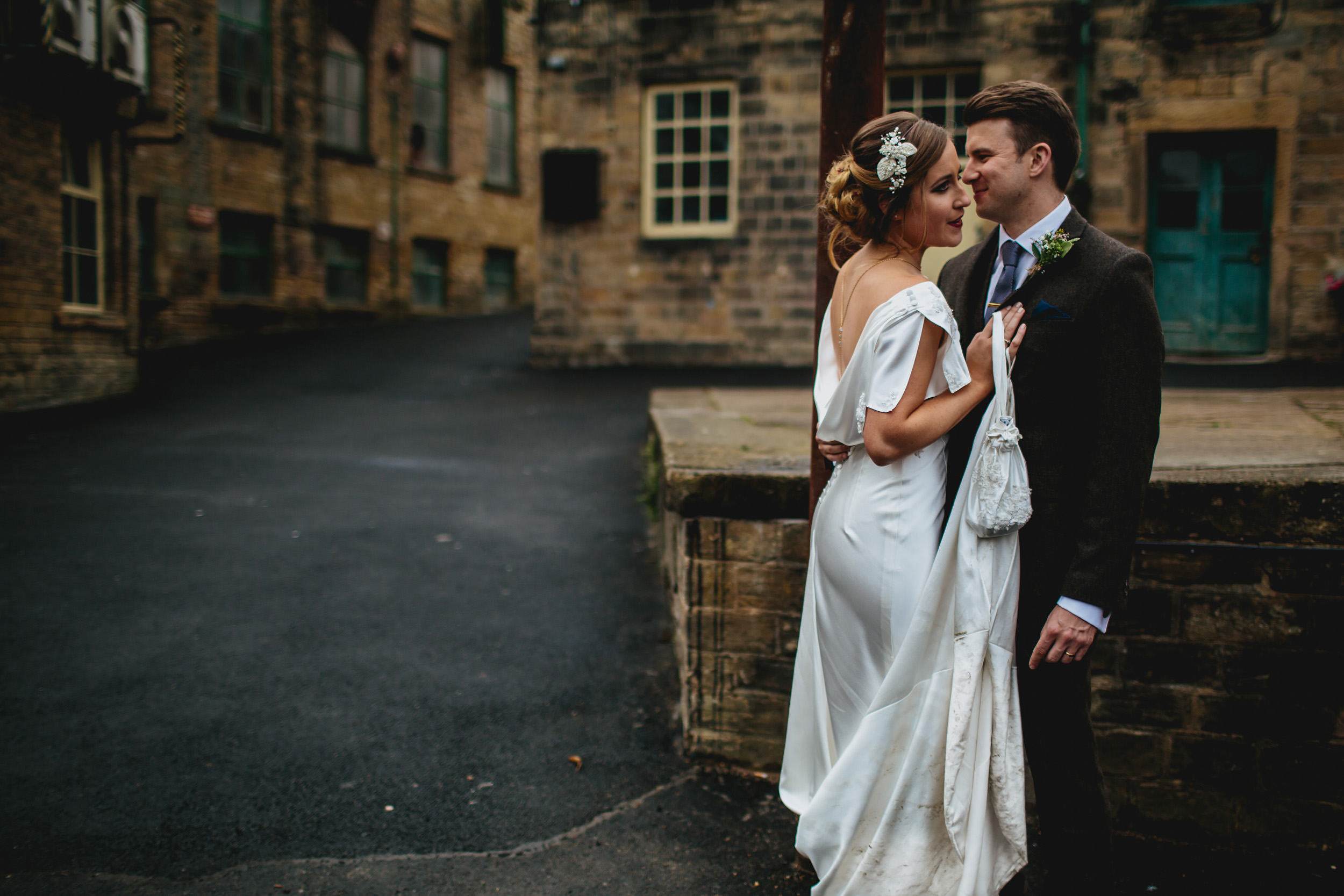Bride and groom at a Sunny Bank Mills wedding