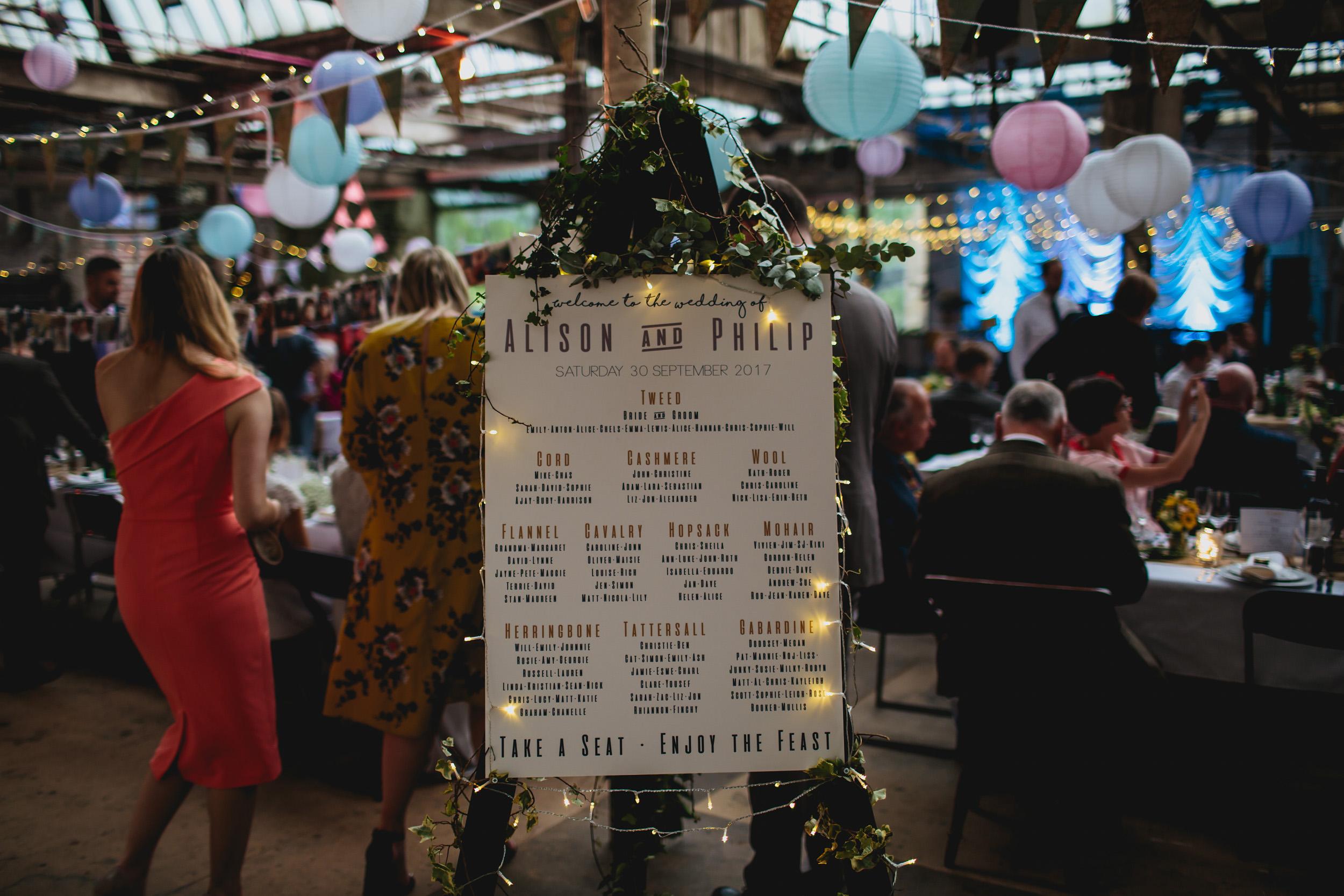 Seating plan at Sunny Bank Mills wedding