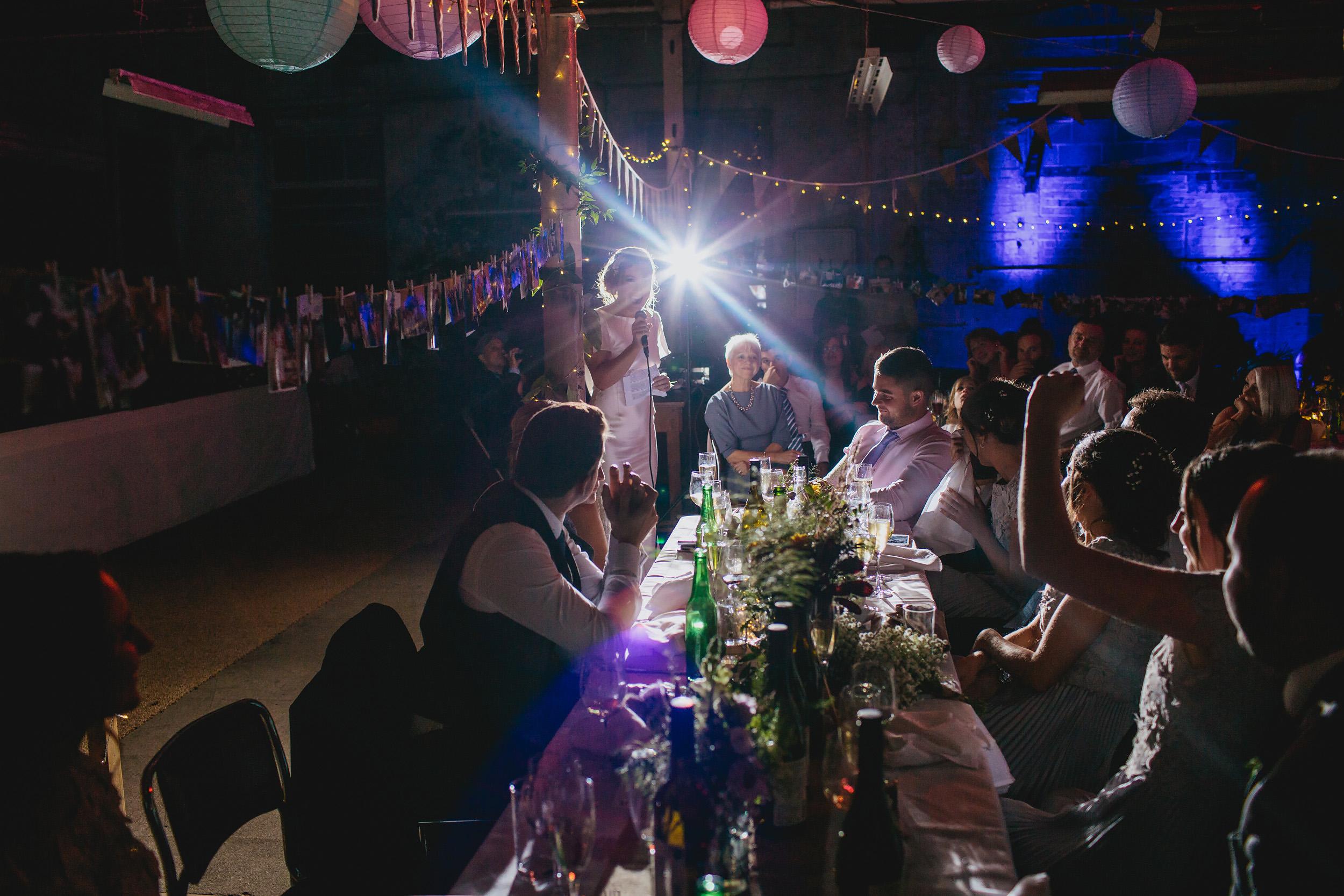 Brides speech at her wedding at Sunny Bank Mills Leeds