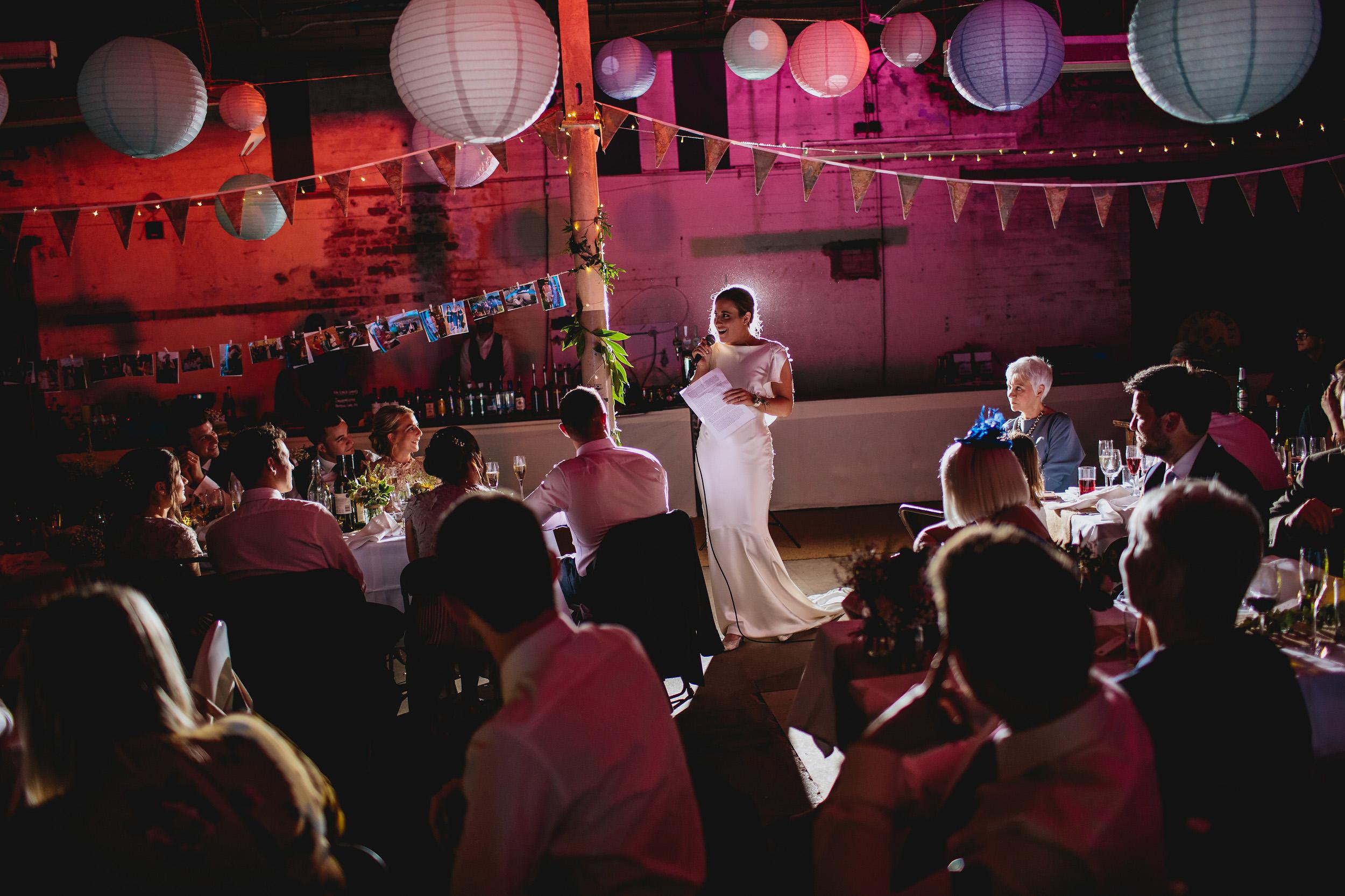 Brides speech at her wedding in Yorkshire