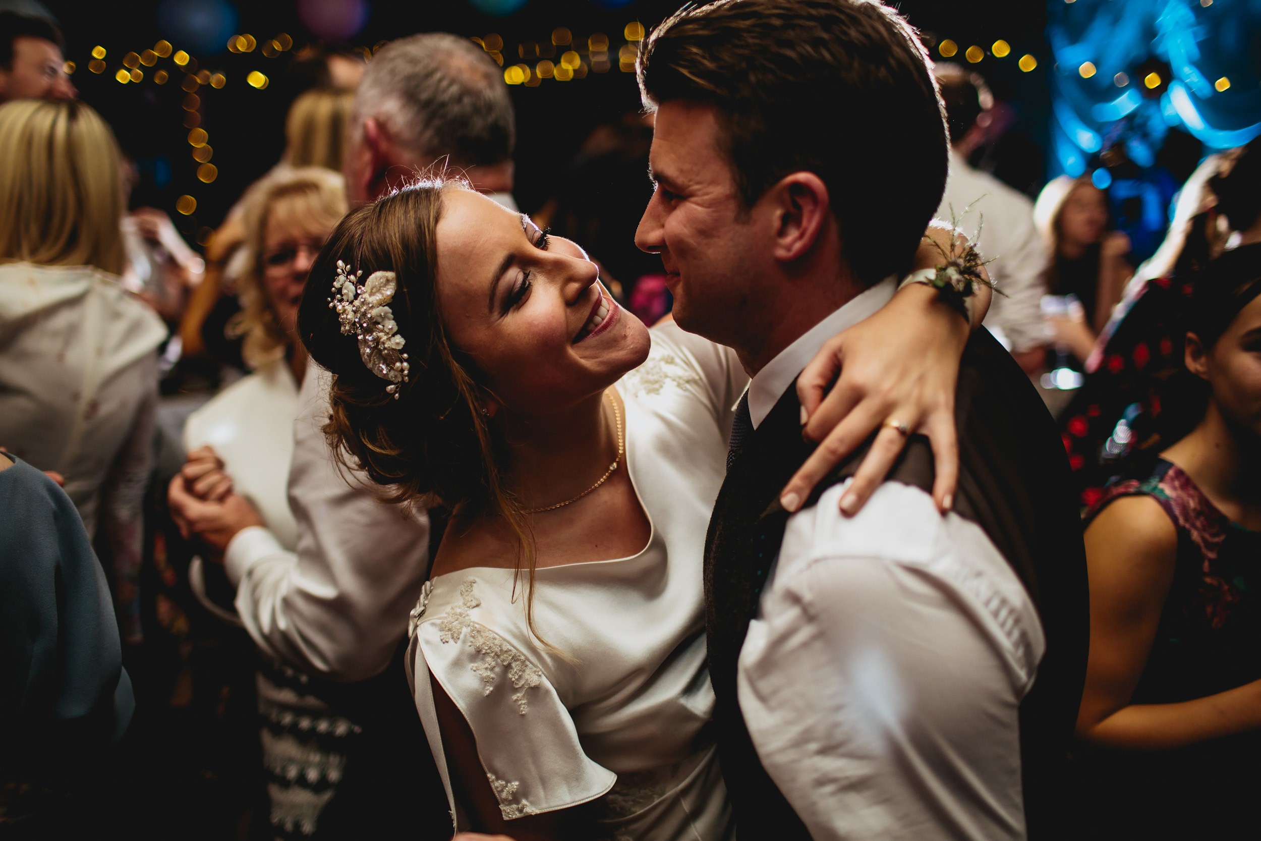 Bride and groom dance at their Yorkshire wedding