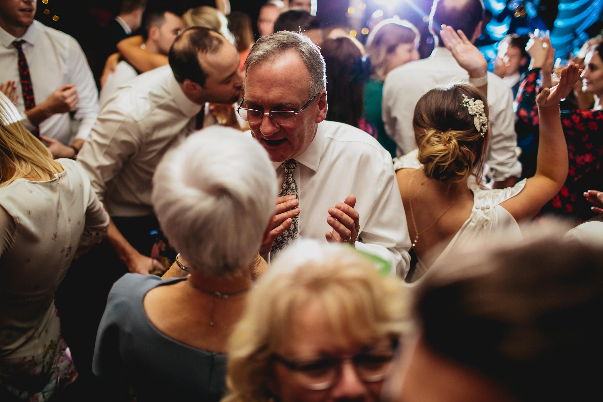 Wedding guests dancing in Yorkshire