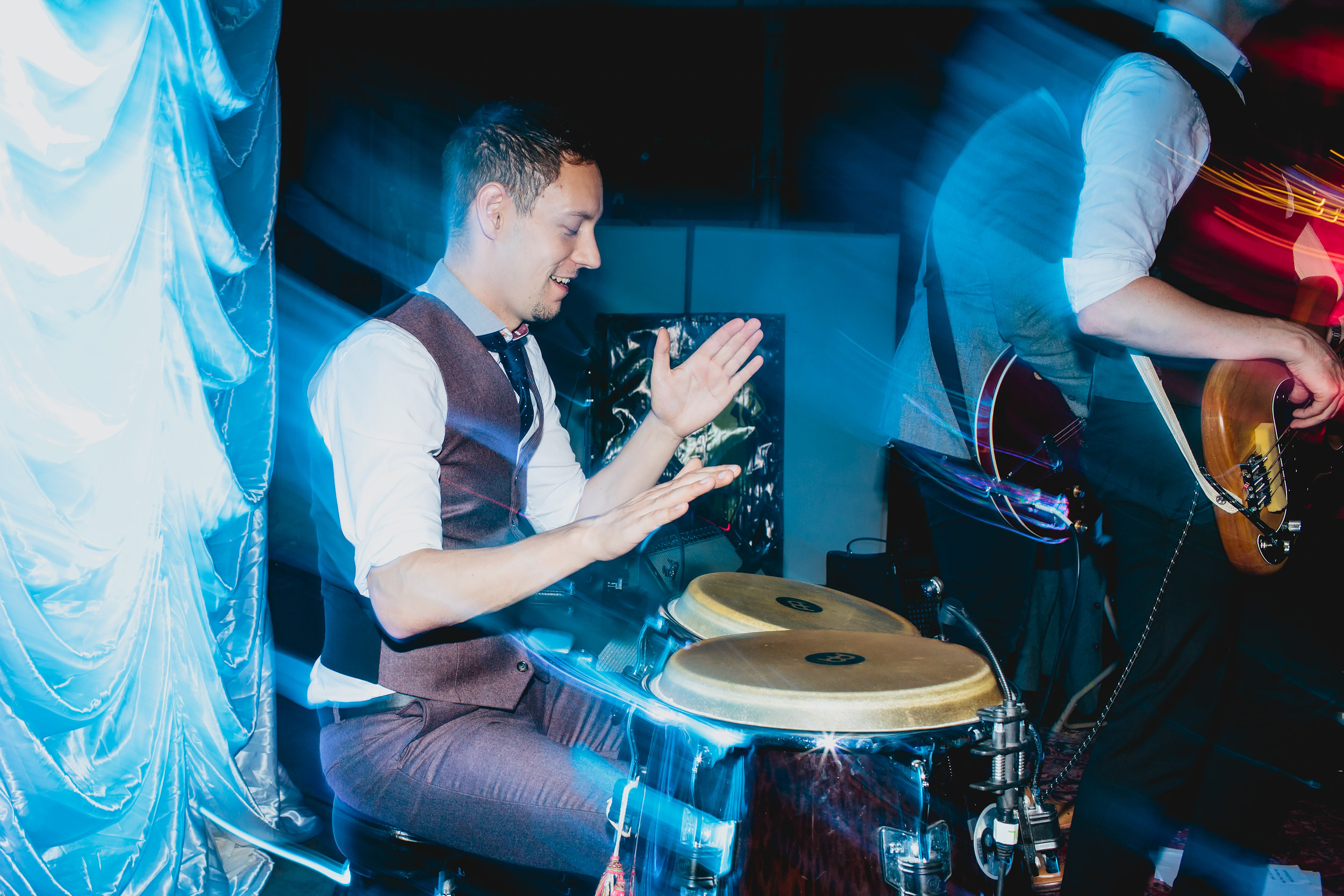 Musician playing congas in Yorkshire