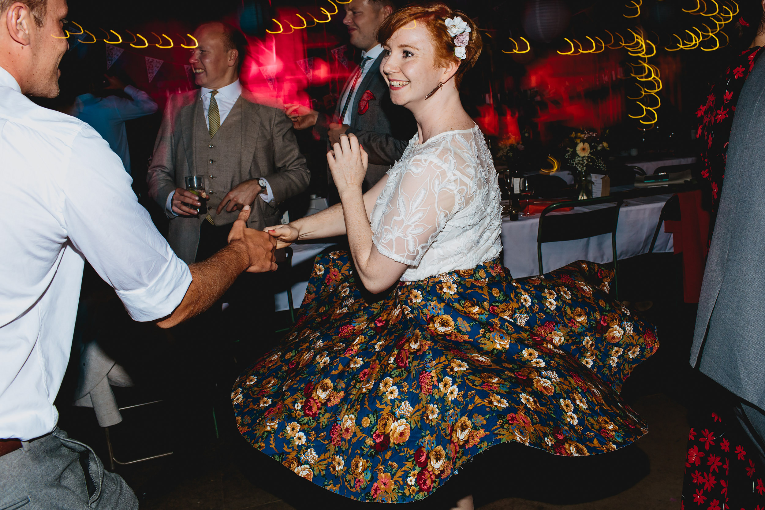 Wedding guests dancing at Sunny Bank Mills